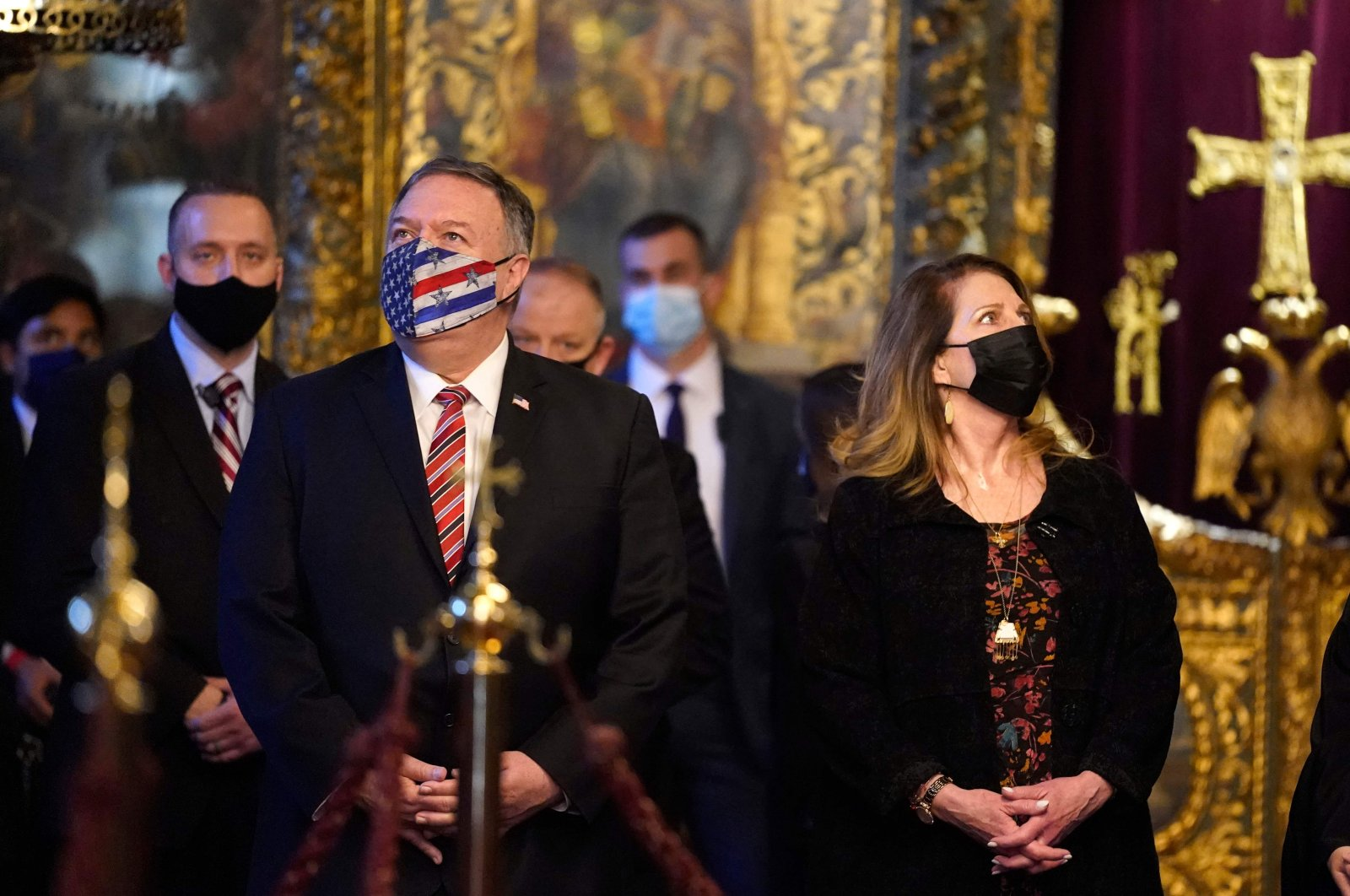 U.S. Secretary of State Mike Pompeo (L) and his wife, Susan, tour the Patriarchal Church of St. George in Istanbul, Nov. 17, 2020. (AFP)