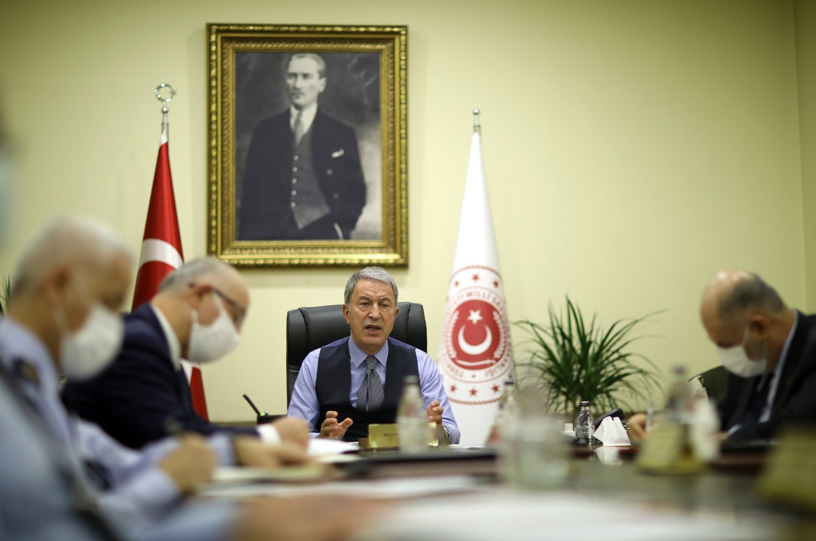 Defense Minister Hulusi Akar speaks at a meeting with ministry officials and commanders-in-chief of the Turkish military in the capital Ankara on Nov. 17, 2020. (AA Photo)