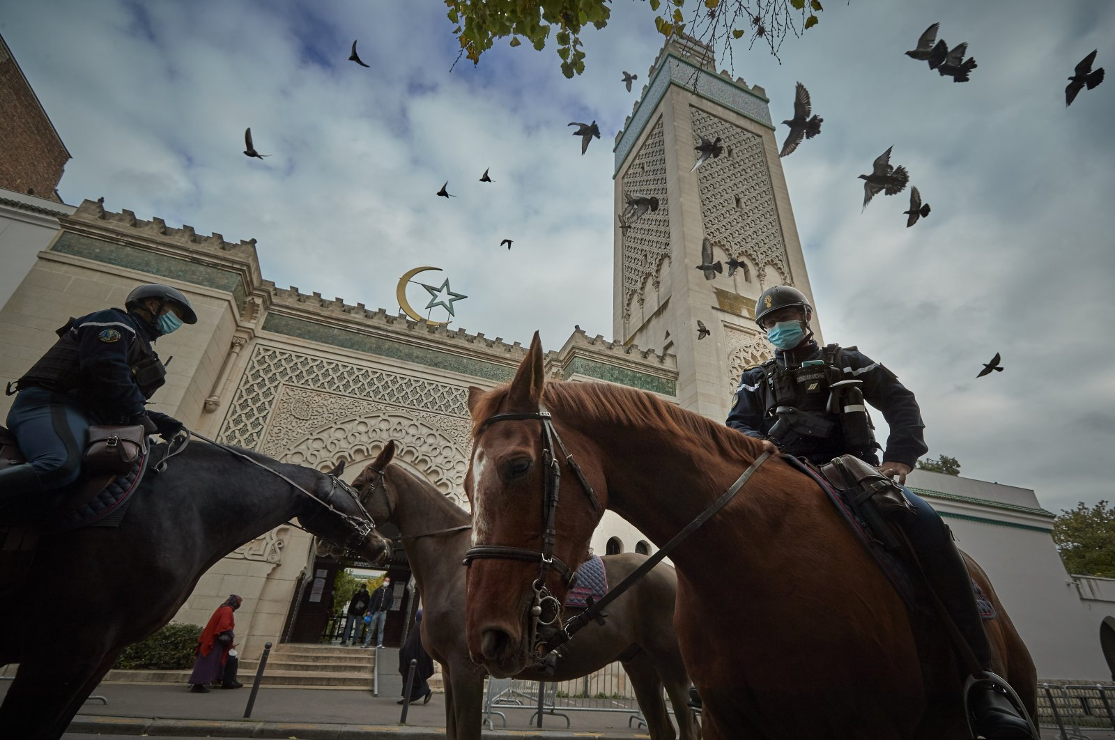 Mounted police patrol outside the Grand Mosque of Paris during Friday prayers, Paris, France, Oct. 30, 2020. (Photo by Getty Images)