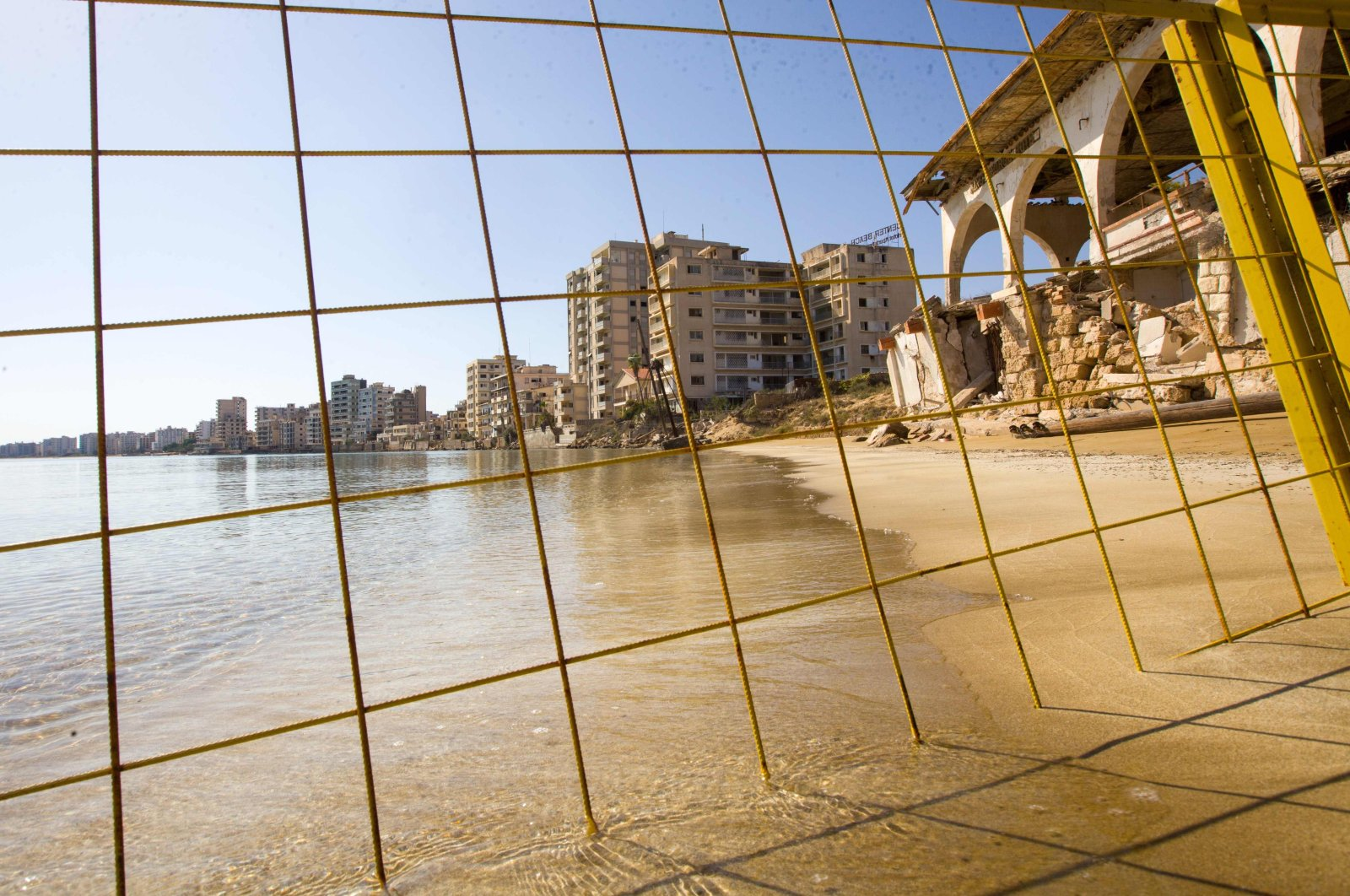 Derelict hotels, restaurants and residential buildings remain abandoned at the fenced-off beachfront eastern town of Varosha (Maraş), in Northern Cyprus, on Oct. 14, 2020. (AFP)