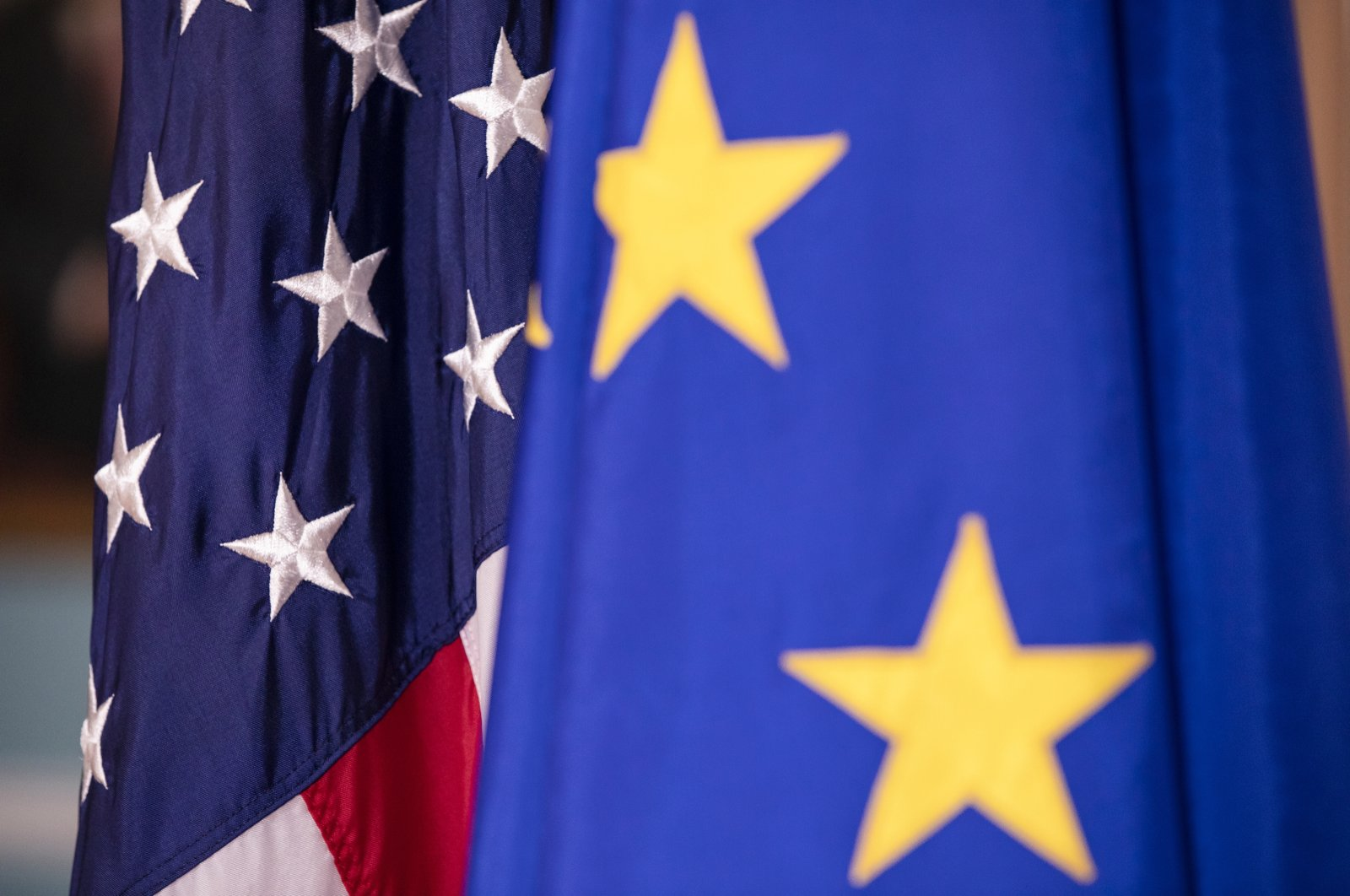 The U.S. and EU flags on display before a meeting between the U.S. and EU delegations, Washington, D.C., the U.S., Feb. 7, 2020. (Photo by Getty Images)
