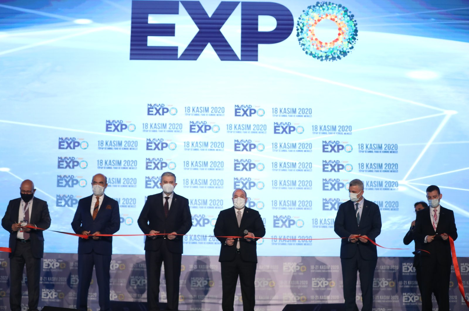 Industry and Technology Minister Mustafa Varank attends the opening ceremony of the MÜSIAD EXPO 2020 Trade Fair in Istanbul, Turkey, Nov. 18, 2020. (AA Photo)