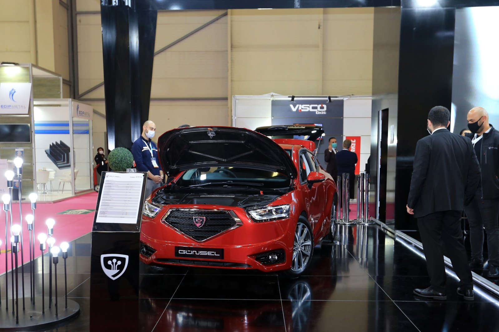 The Turkish Republic of Northern Cyprus' (TRNC) domestically manufactured automobile, Günsel, is seen on the sidelines of the MÜSIAD EXPO 2020 in Istanbul, Turkey, Nov. 18, 2020. (AA Photo)