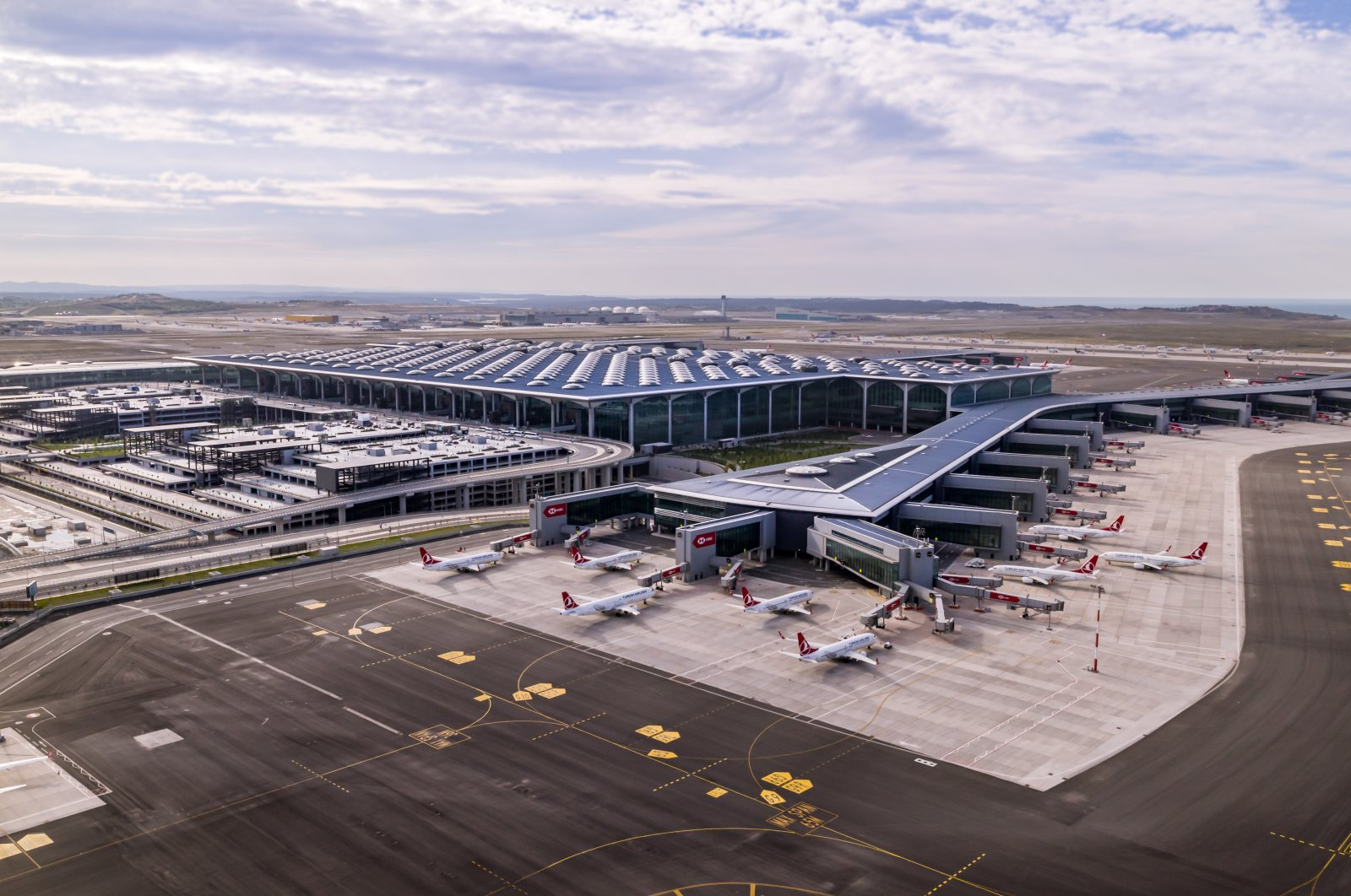 A drone photo shows planes landed in a terminal at Istanbul Airport, Istanbul, Turkey, Nov. 18, 2020. (Photo courtesy of IGA)