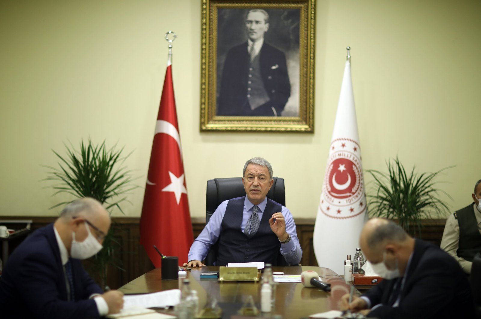 Defense Minister Hulusi Akar speaks during a videoconference with commanding officers, stating that Turkish and Russian delegations met to discuss the Nagorno-Karabakh ceasefire, Nov. 17, 2020 (IHA Photo)
