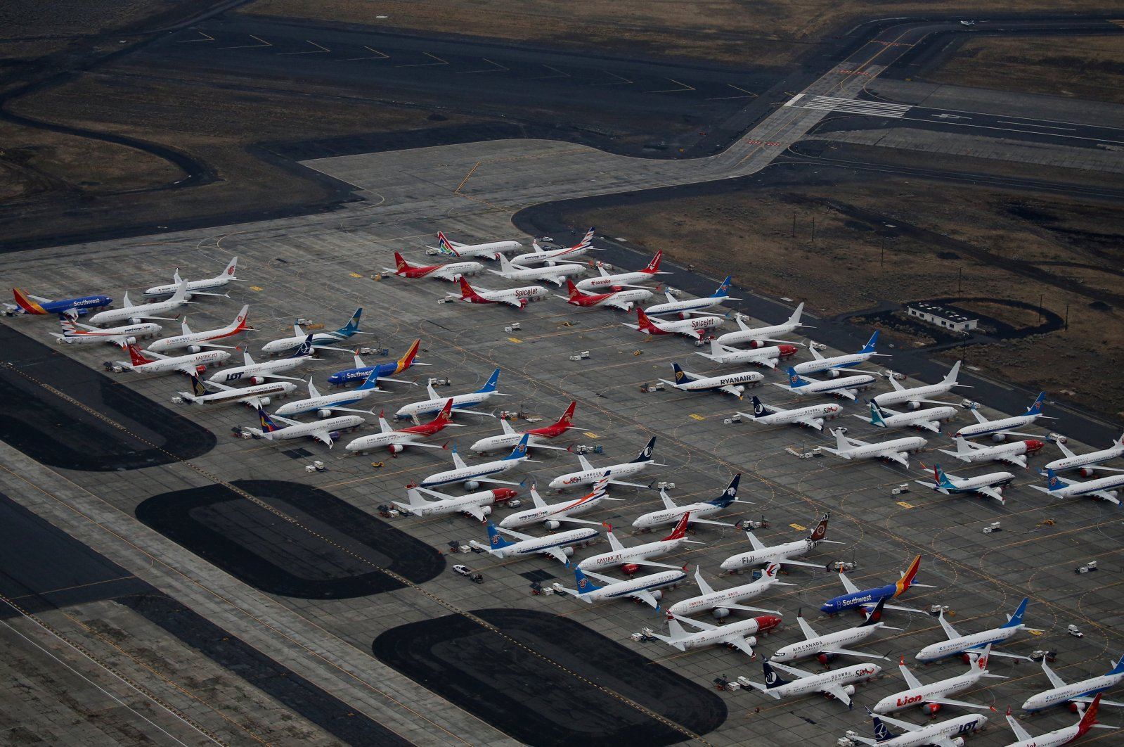Grounded Boeing 737 Max aircraft are parked at Boeing facilities at Grant County International Airport in Moses Lake, Washington, U.S. Nov. 17, 2020.  (Reuters Photo)