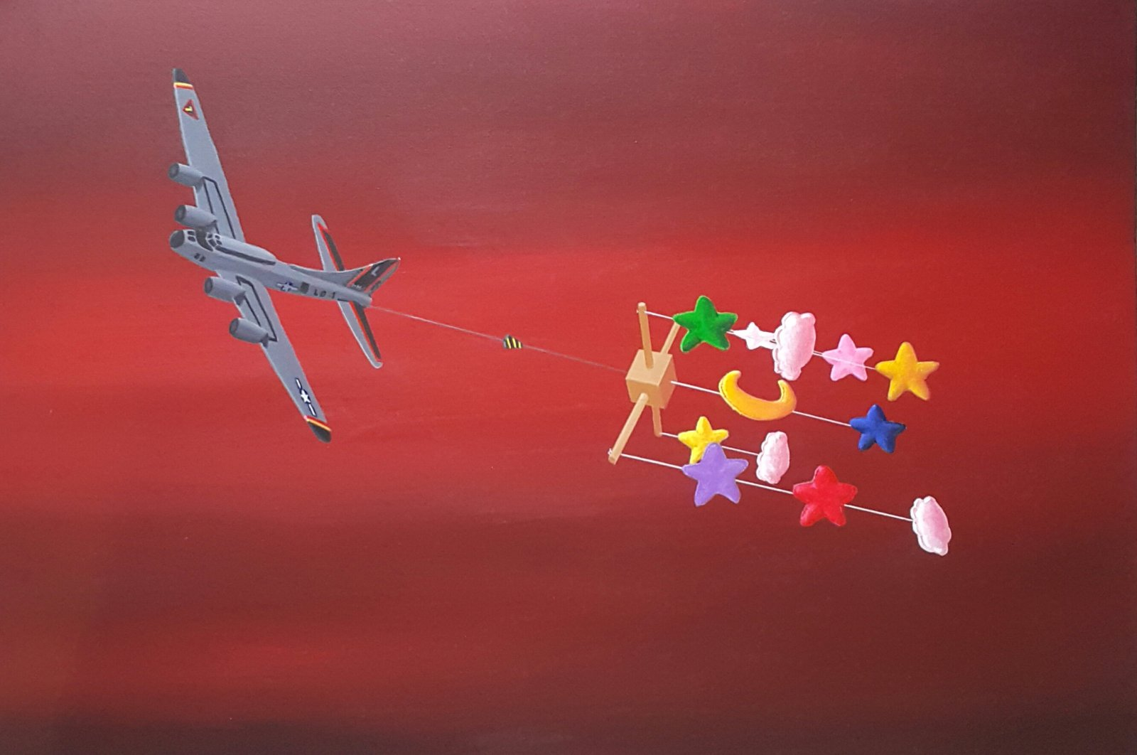 "Serkan Küçüközcü, ""Red Plane"", acrylic on canvas, 50 by 70 centimeters, 2019. (Courtesy of Anna Laudel Gallery)"