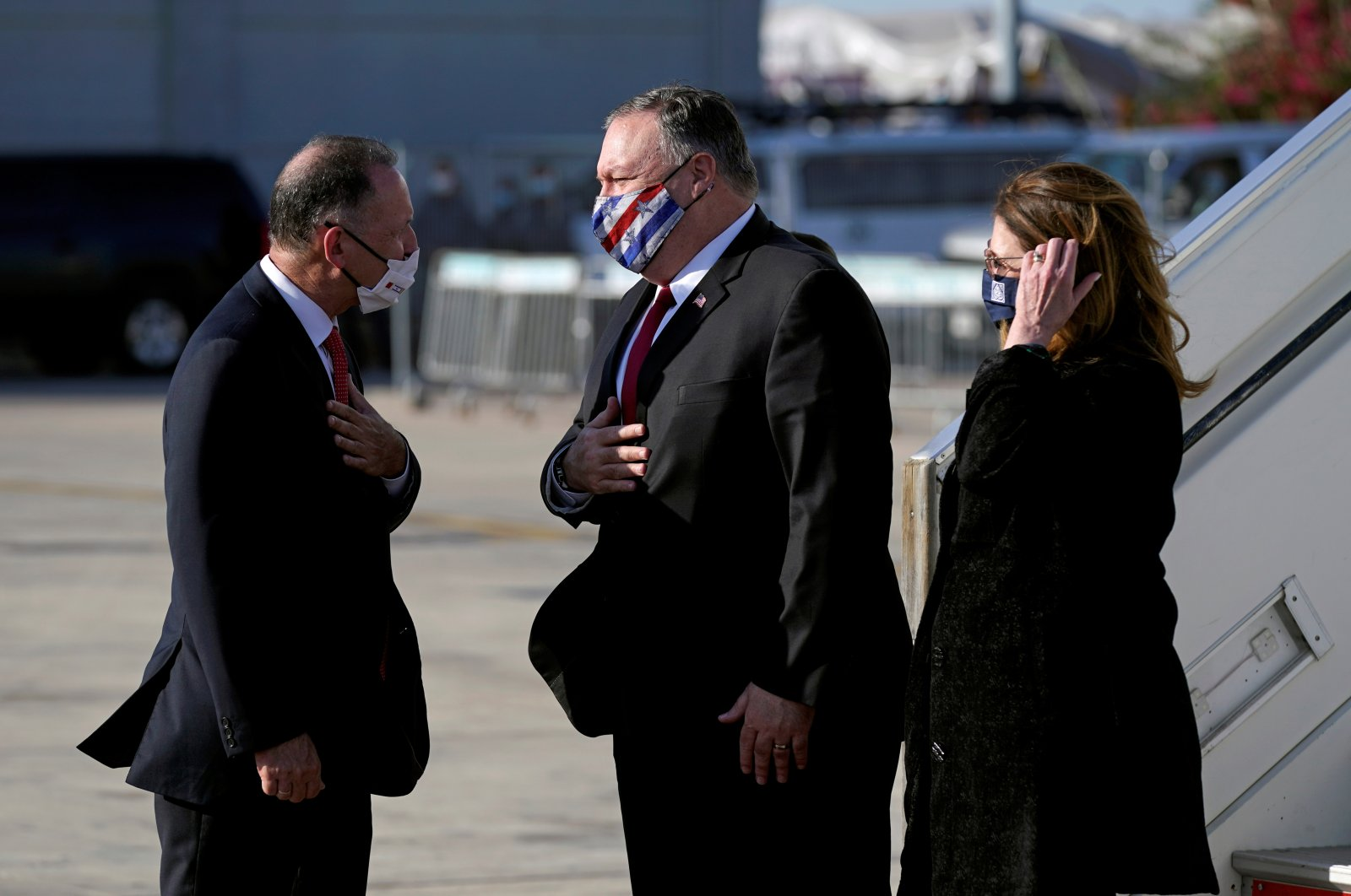 U.S. Secretary of State Mike Pompeo and his wife arrive at Ben Gurion Airport, Tel Aviv, Nov. 18, 2020. (REUTERS Photo)