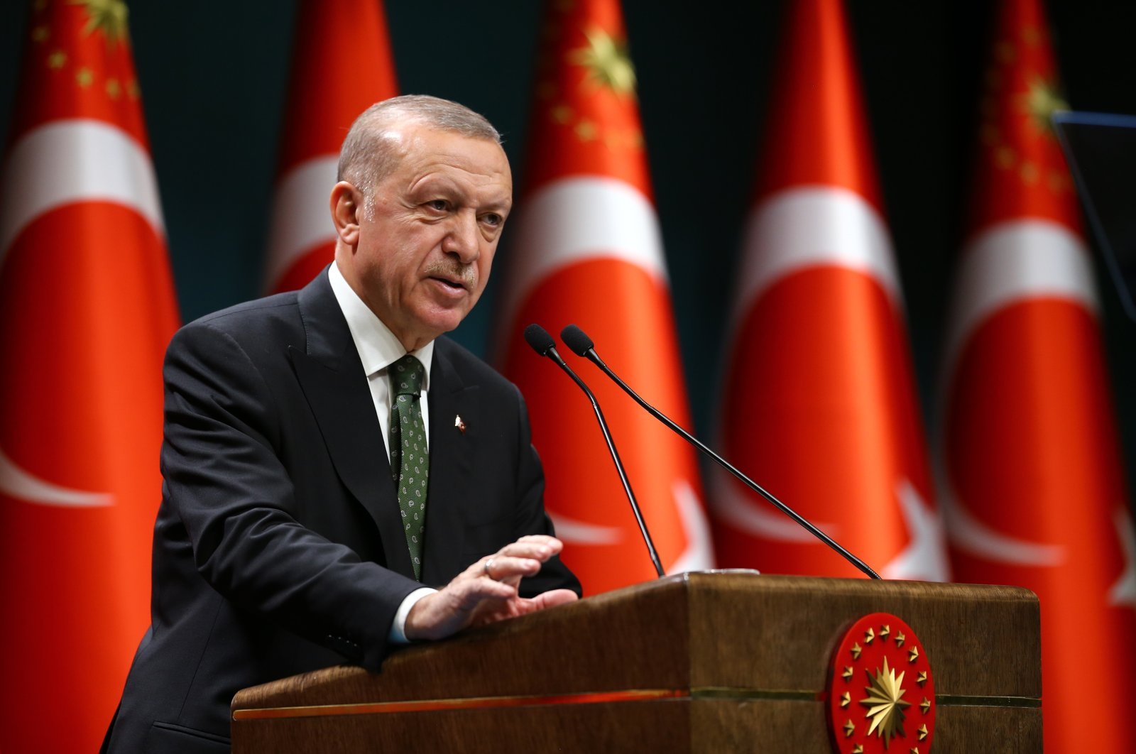 President Recep Tayyip Erdoğan gives a press conference after the Cabinet meeting at the Presidential Complex in Ankara, Nov. 17, 2020 (AA Photo)