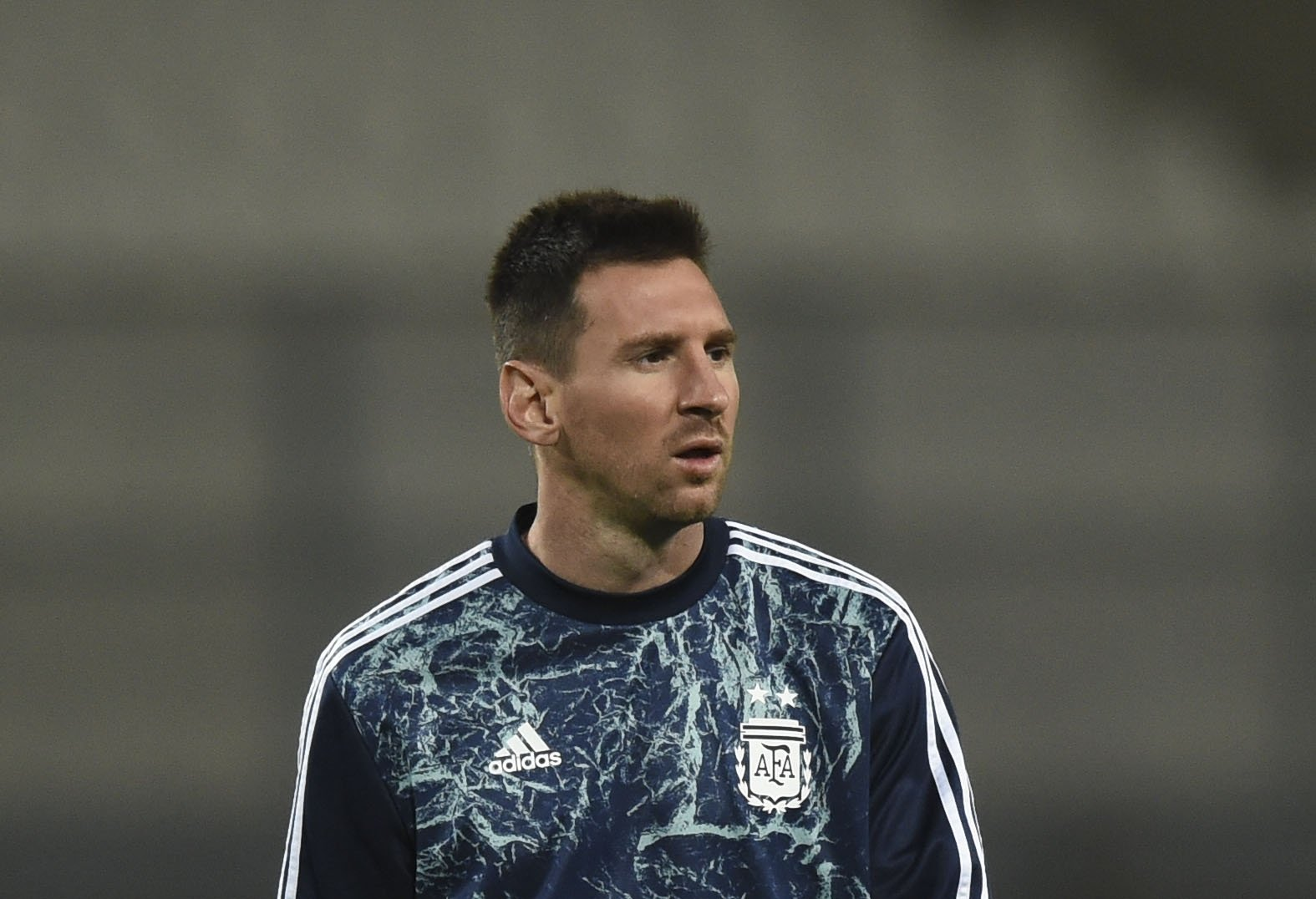 Argentina's Lionel Messi warms up before the closed-door 2022 FIFA World Cup South American qualifier football match between Peru and Argentina at the National Stadium in Lima, Peru, Nov. 17, 2020. (AFP Photo)