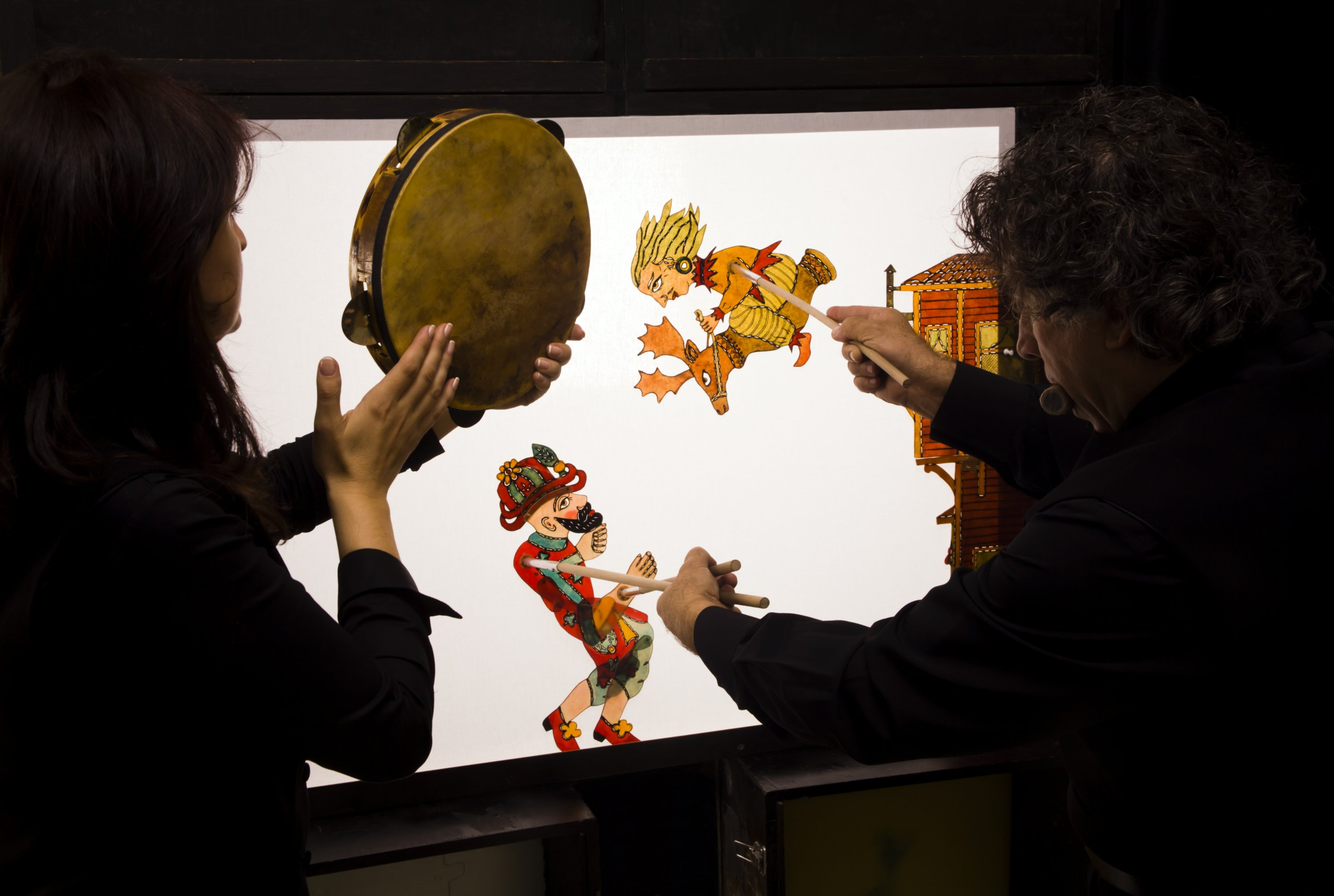 A backstage view from a Karagöz and Hacivat shadow play. (iStock Photo)
