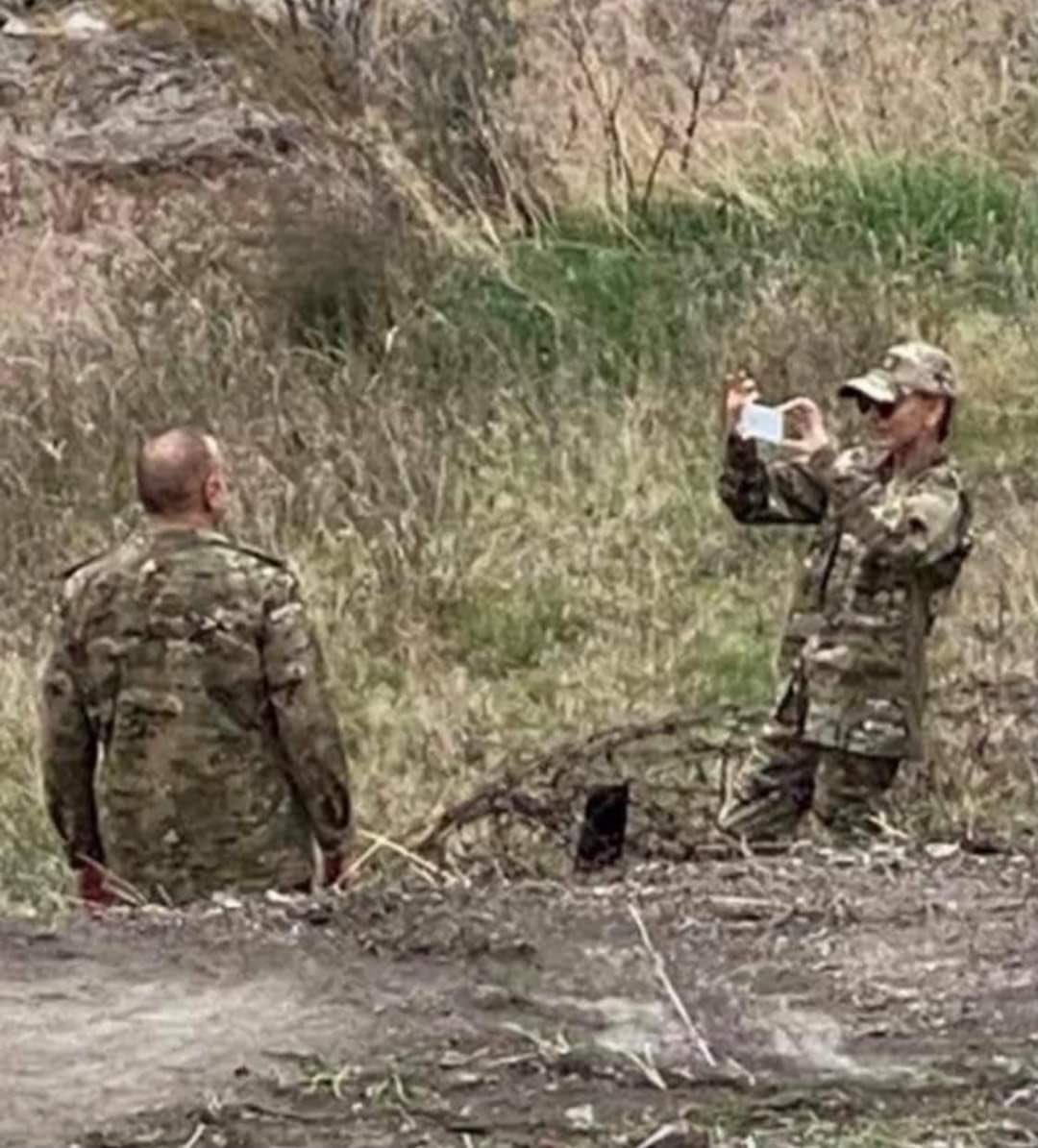 Azerbaijani Vice President Mehriban Aliyeva takes a photo of President Ilham Aliyev near the border with Iran in the city of Jabrayil, Nov. 17, 2020. (Photo shared by unidentified Iranian sniper on Twitter)