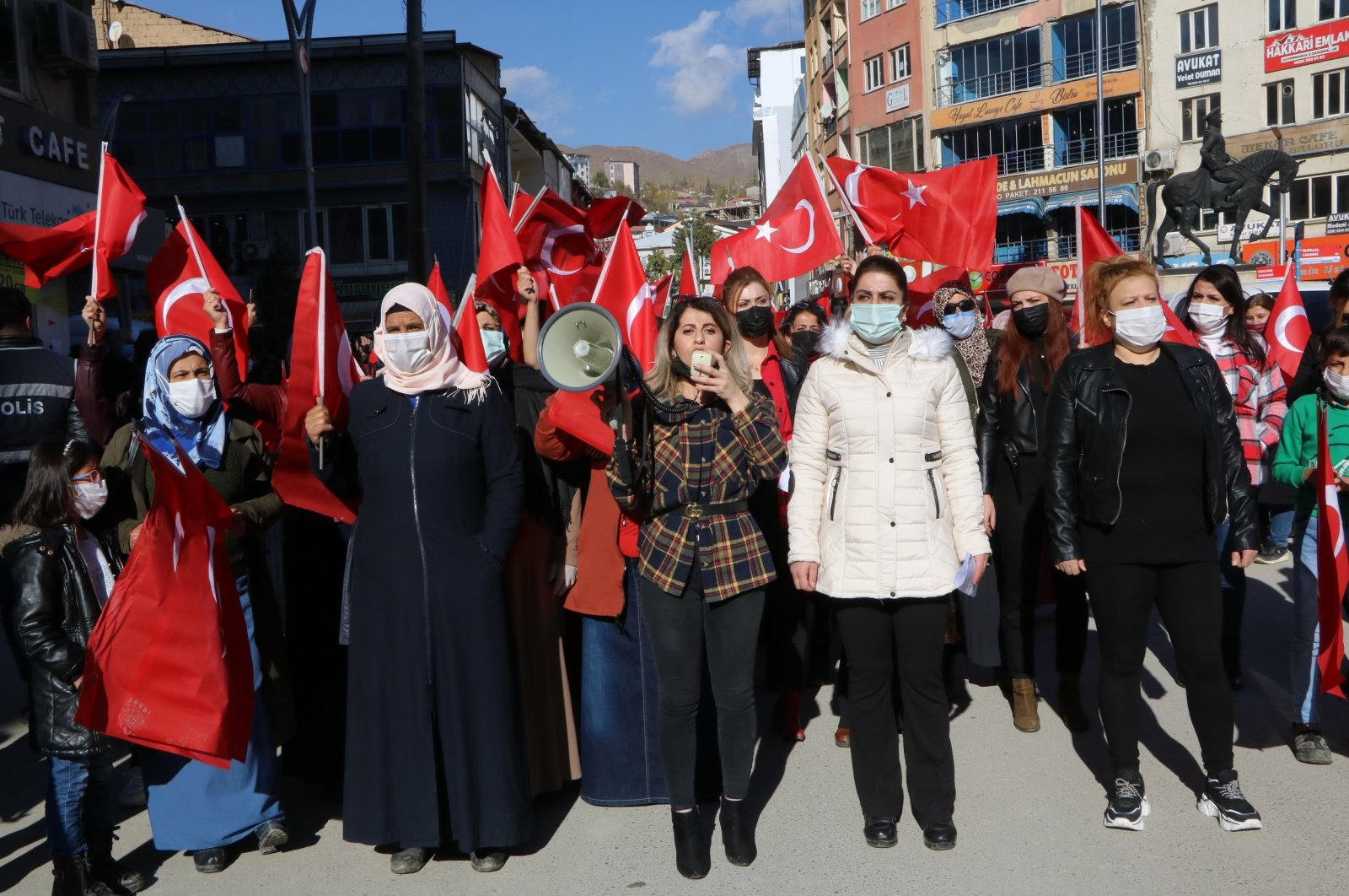Women stage a protest march against the PKK terrorist group, southeastern Hakkari province, Turkey, Nov. 18, 2020. (DHA Photo)