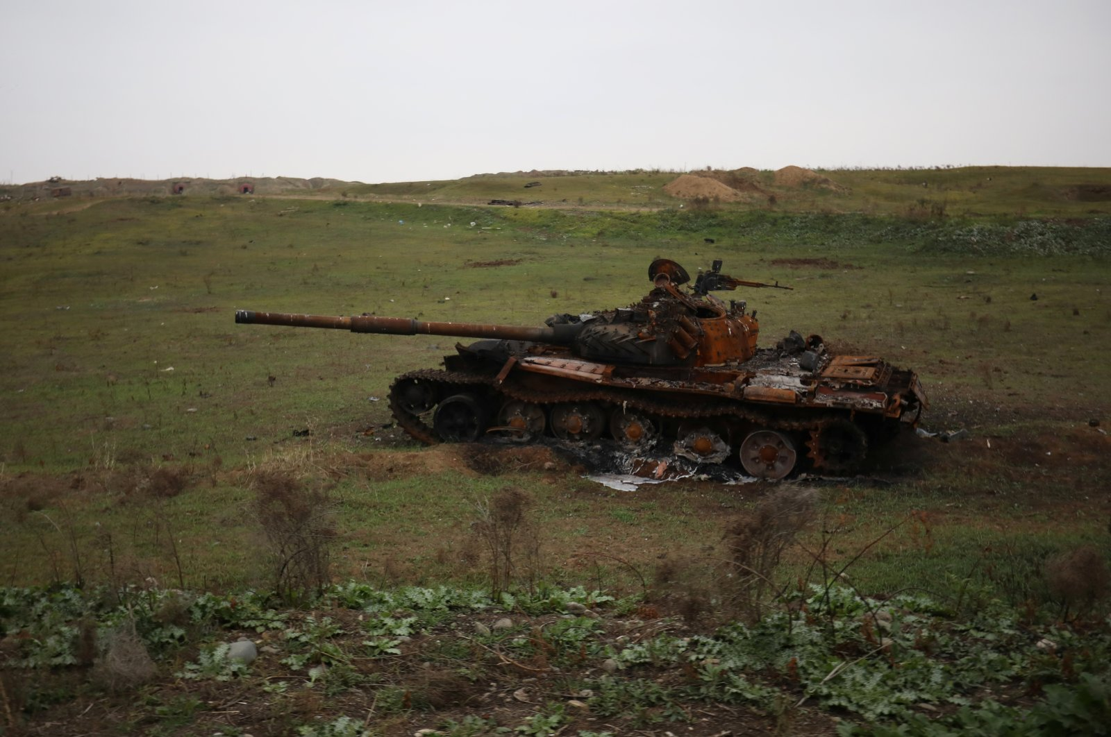 A view shows a destroyed tank in the recently liberated Fuzuli district in the region of Nagorno-Karabakh, Nov. 18, 2020. (Reuters Photo)