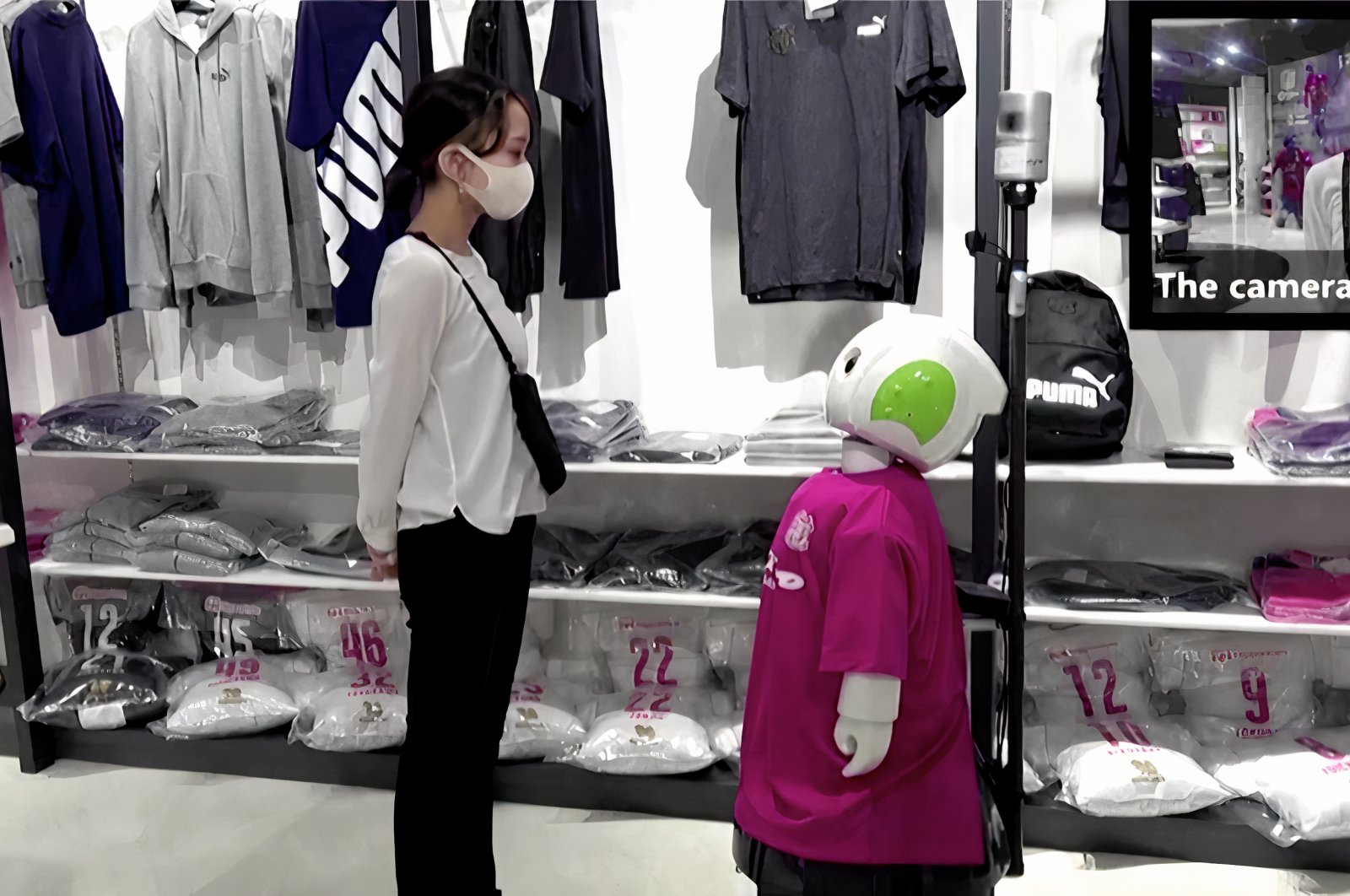 "Japanese robot ""Robovie"" has been developed to ask shop customers to wear face masks and socially distance. (Screengrab via REUTERS)"