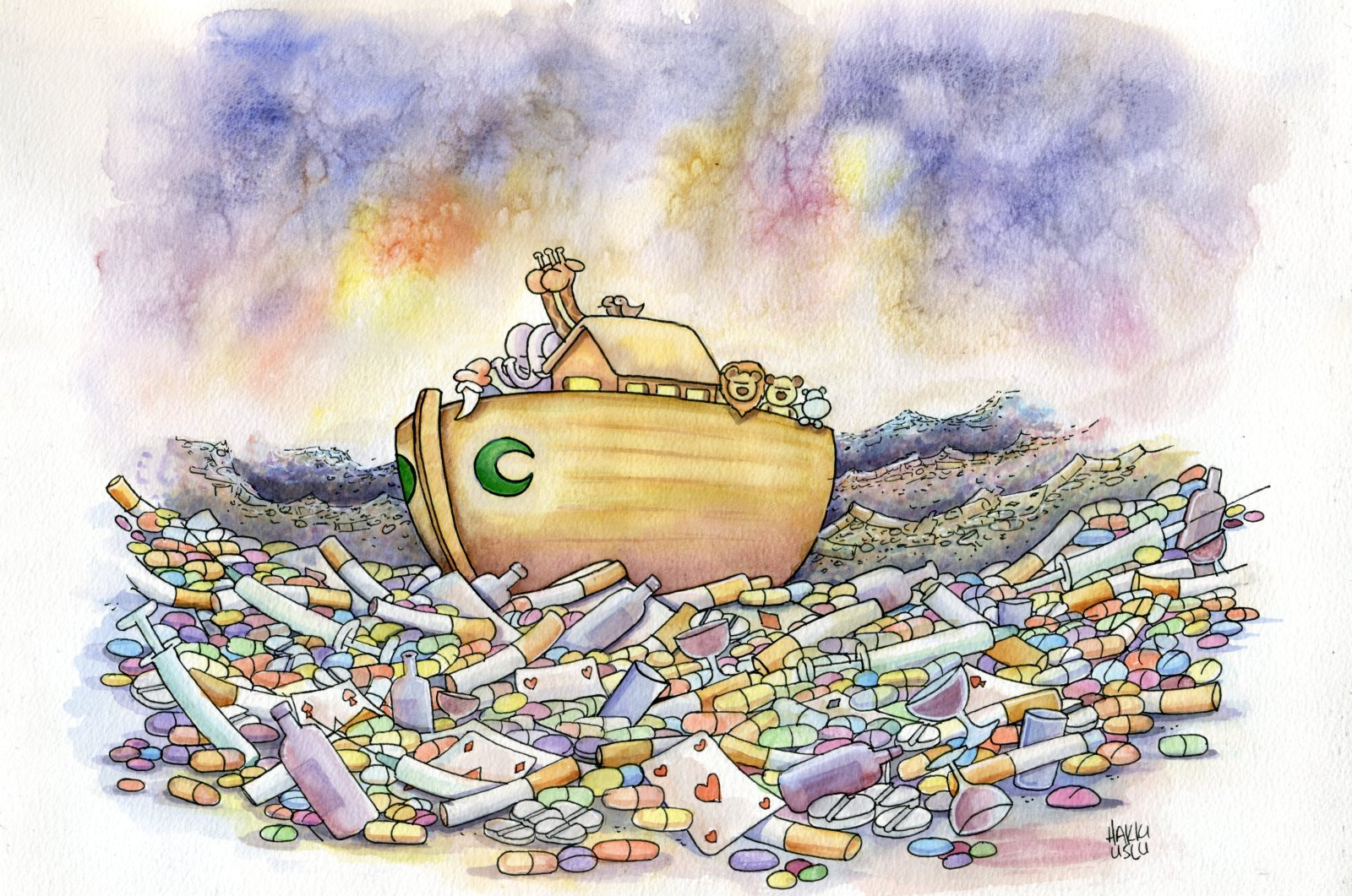 A cartoon by Hakkı Uslu for the International Green Crescent Cartoon Contest 2020.