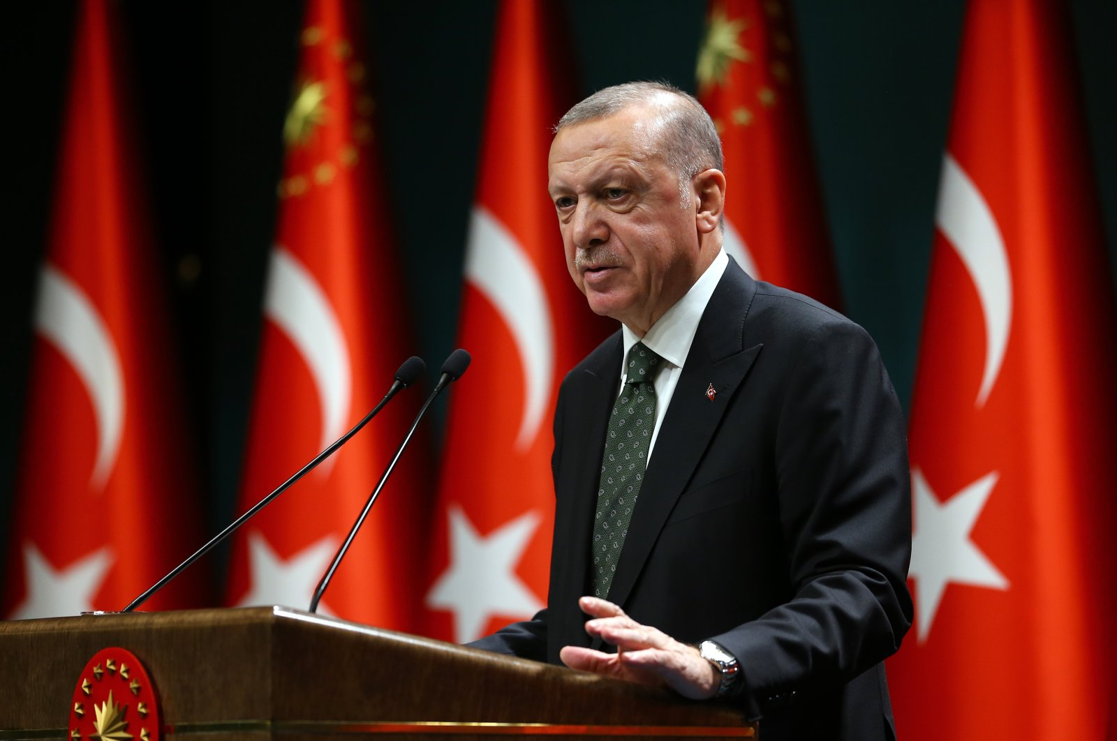 President Recep Tayyip Erdoğan speaks following a Cabinet meeting in Ankara, Turkey, Nov. 17, 2020. (AA Photo)