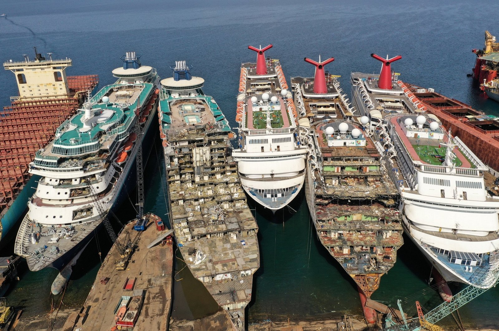 A drone image shows decommissioned cruise ships being dismantled at Aliağa ship breaking yard in Izmir, Turkey, Oct. 2, 2020. (Reuters Photo)