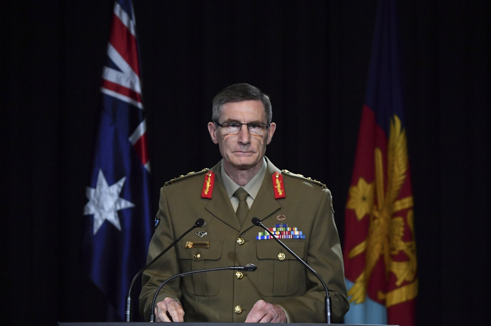 Chief of the Australian Defense Force Gen. Angus Campbell delivers the findings from the Inspector-General of the Australian Defense Force Afghanistan Inquiry, Canberra, Nov. 19, 2020. (AP Photo)