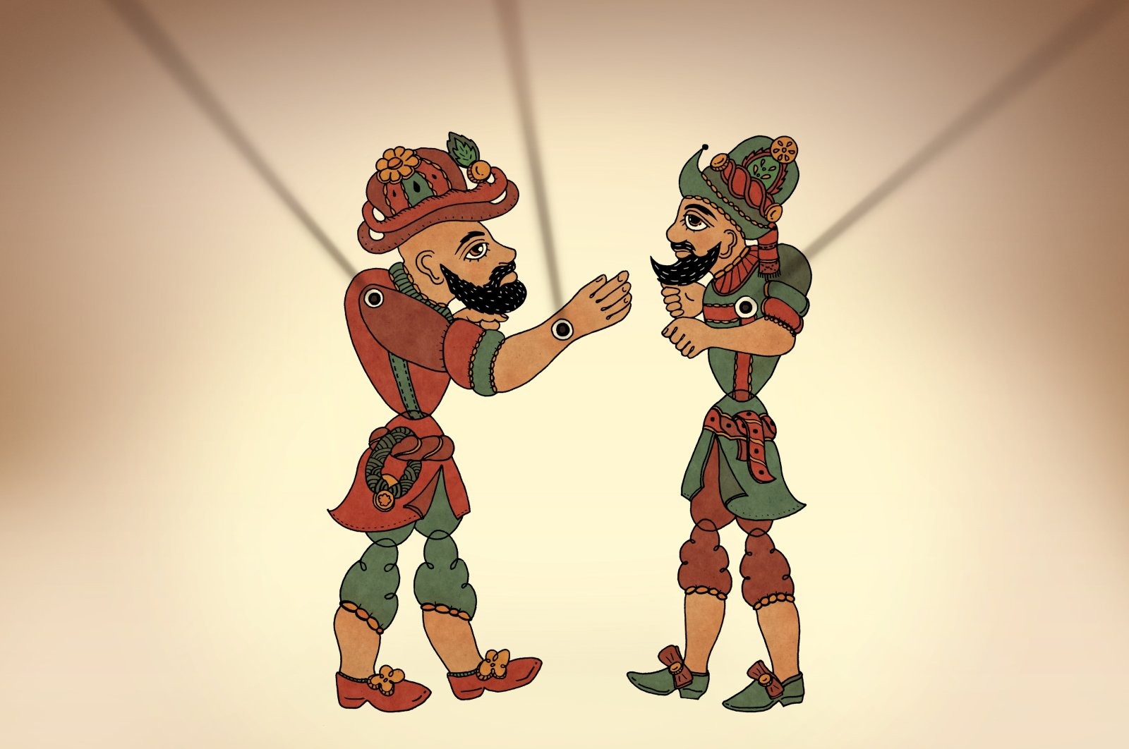 The puppets of Karagöz (L) and Hacivat are seen on the curtain. (iStock Photo)