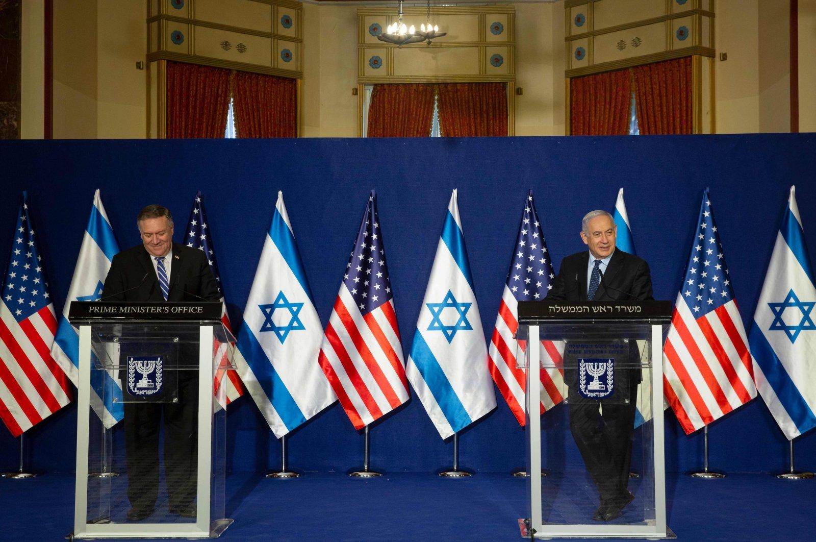 U.S. Secretary of State Mike Pompeo and Israeli Prime Minister Benjamin Netanyahu make a joint statement in Jerusalem, Nov. 19, 2020. (AFP Photo)