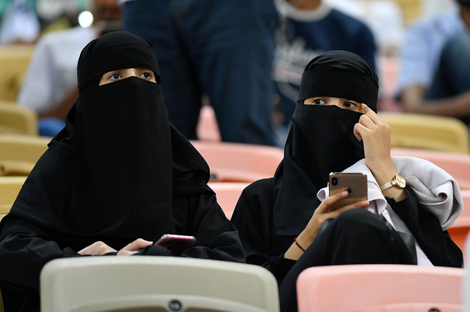 Women inside the stadium before the Spanish Super Cup semifinal – Valencia vs. Real Madrid match, Jeddah, Saudi Arabi, Jan. 8, 2020. (Reuters Photo)