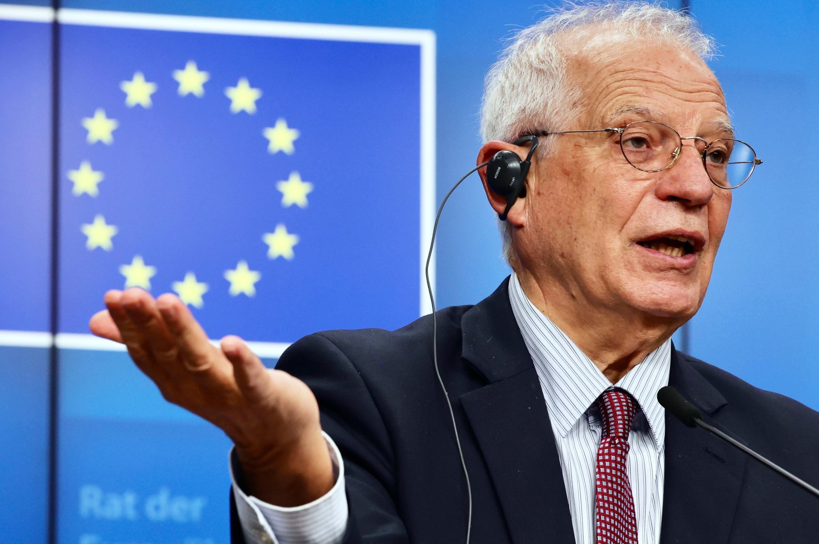 High Representative of the Union for Foreign Affairs and Security Policy Josep Borrell speaks during a news conference following a foreign affairs ministers' video conference meeting at the European Council headquarters in Brussels, Nov. 19, 2020. (AFP Photo)