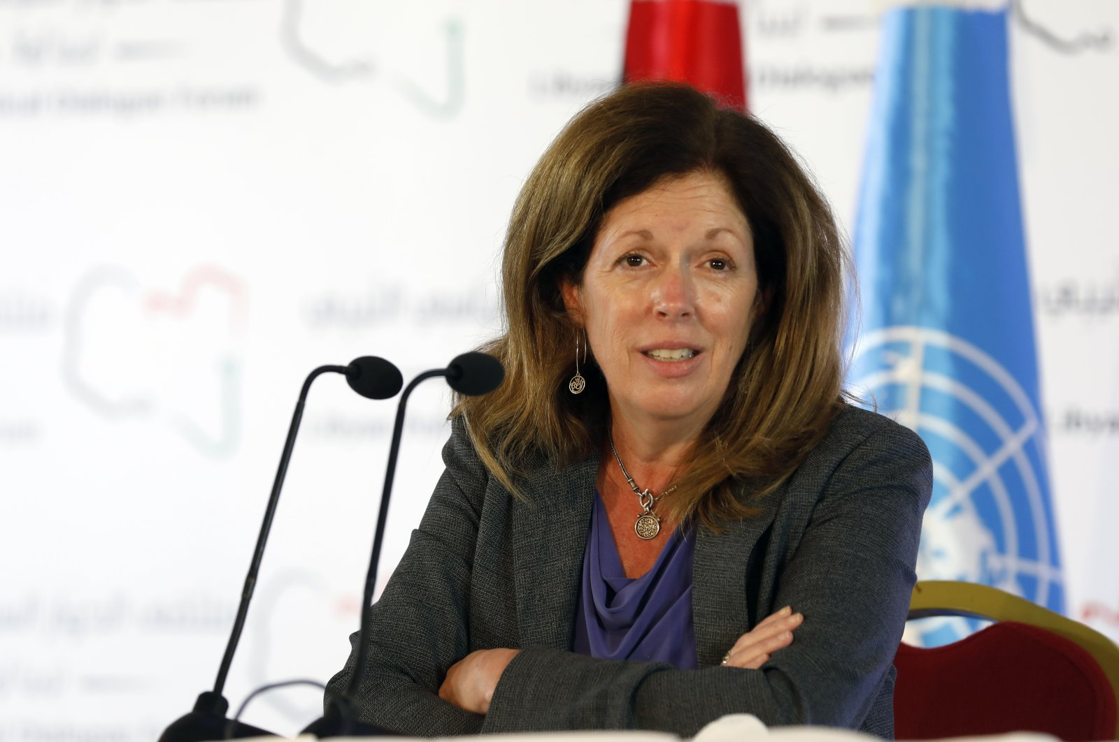 Stephanie Williams, Acting Special Representative of the Secretary-General and Head of the United Nations Support Mission speaks during a news conference in Tunis, Tunisia, Nov. 15, 2020. (AP)