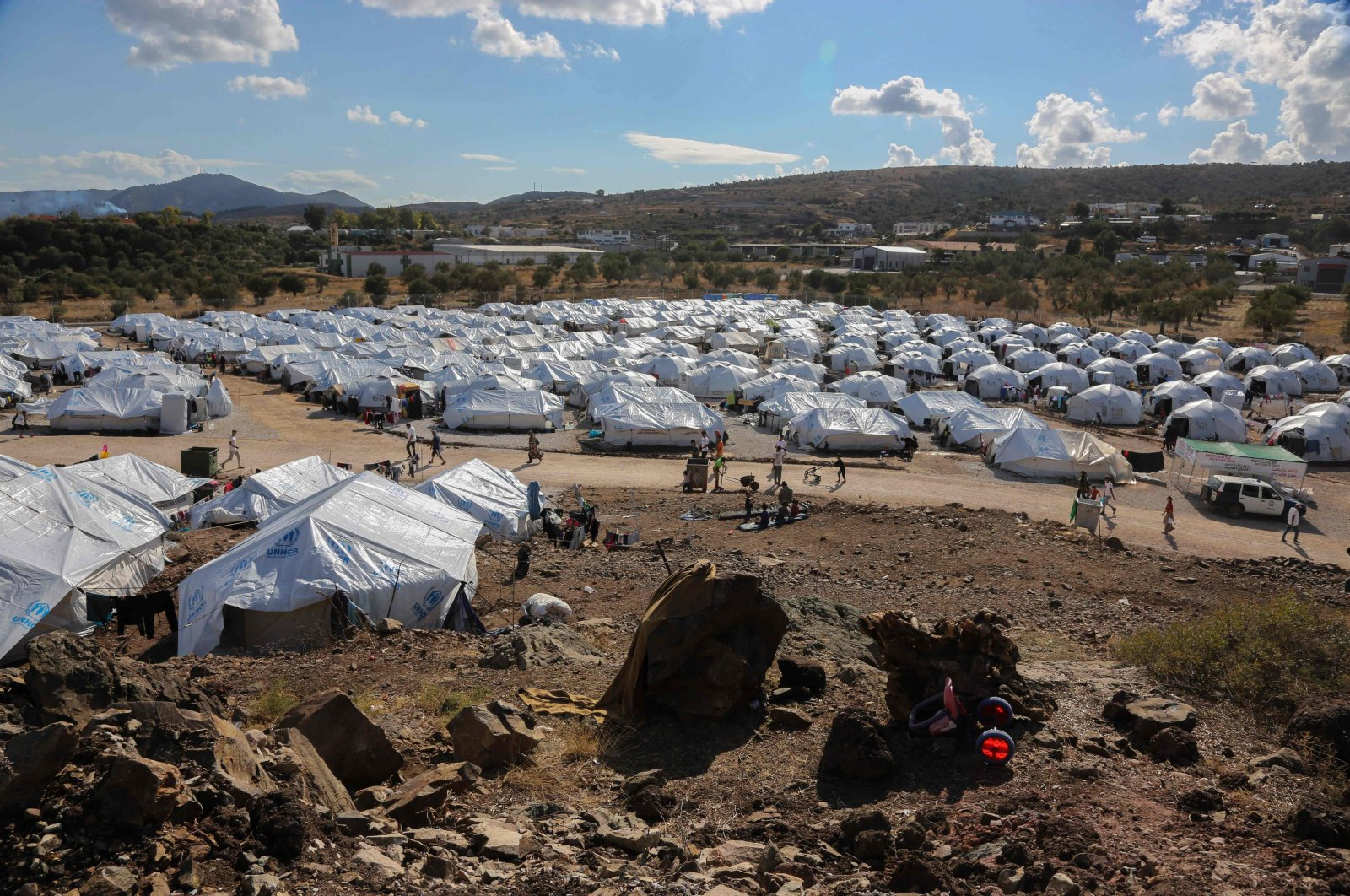 The Kara Tepe camp for refugees and migrants on the island of Lesbos, Greece, Oct. 14, 2020. (AFP)
