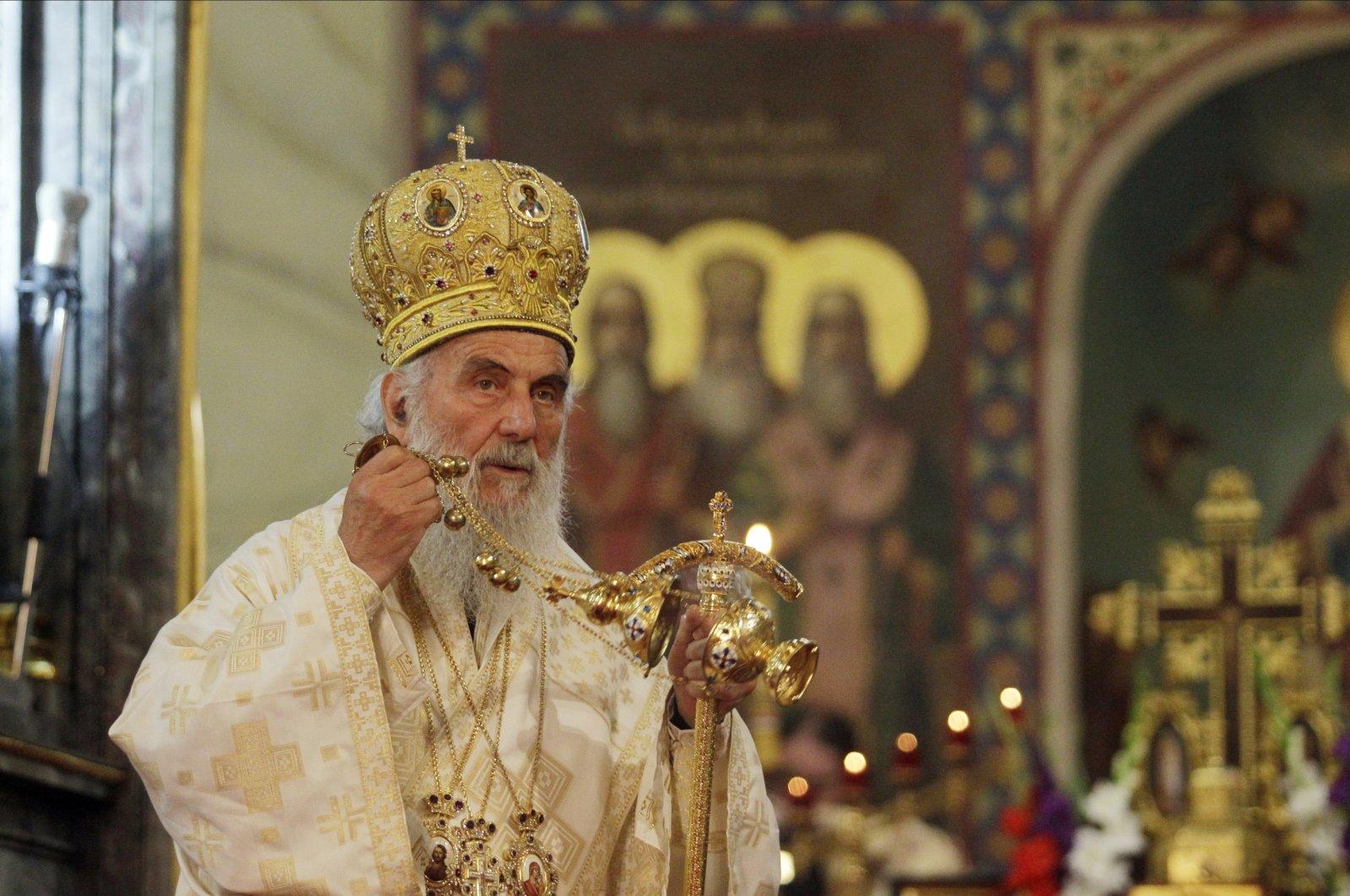 Serbian Orthodox Church Patriarch Irinej delivers mass in Belgrade, Serbia, July 26, 2014. (EPA Photo)