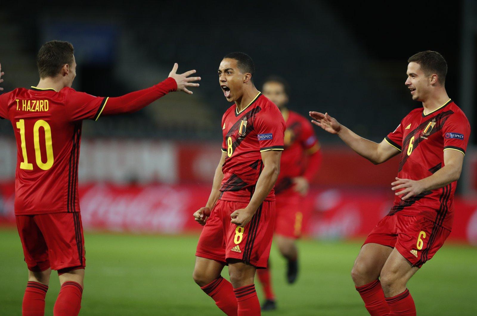 Belgium players celebrate a goal during a UEFA Nations League match against Denmark, in Leuven, Belgium, Nov. 18, 2020. (AP Photo)