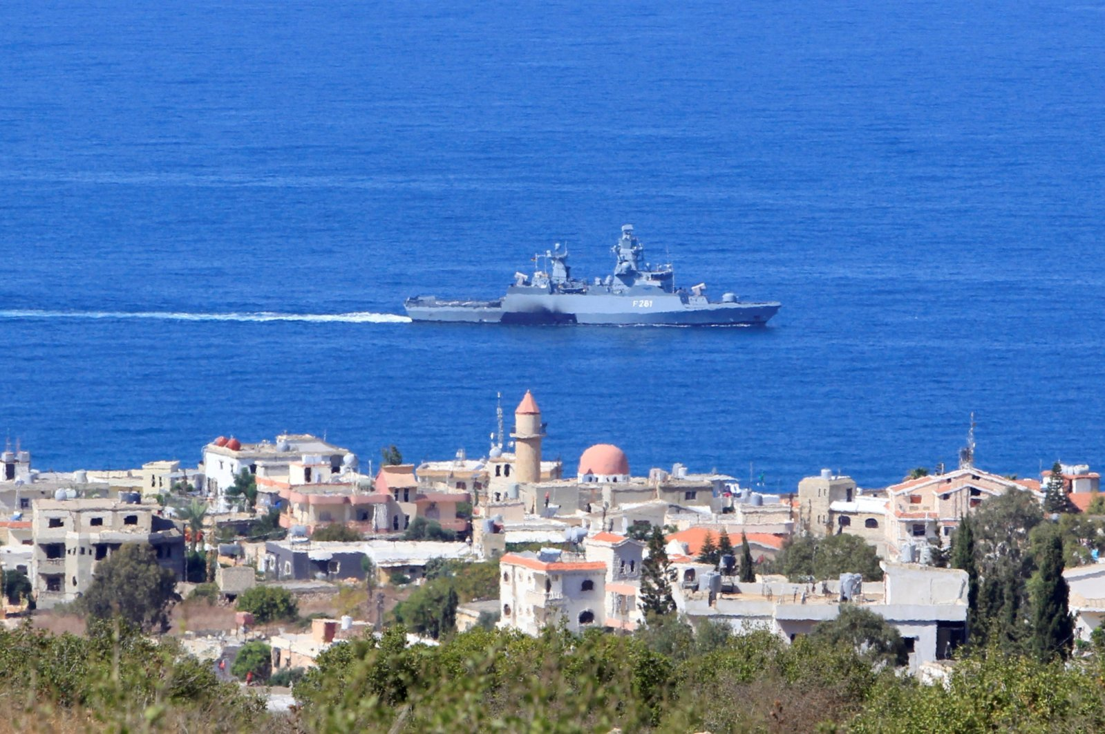 A United Nations naval ship is pictured off the Lebanese coast in the town of Naqoura, near the Lebanese-Israeli border, southern Lebanon, Oct. 14, 2020. (Reuters Photo)