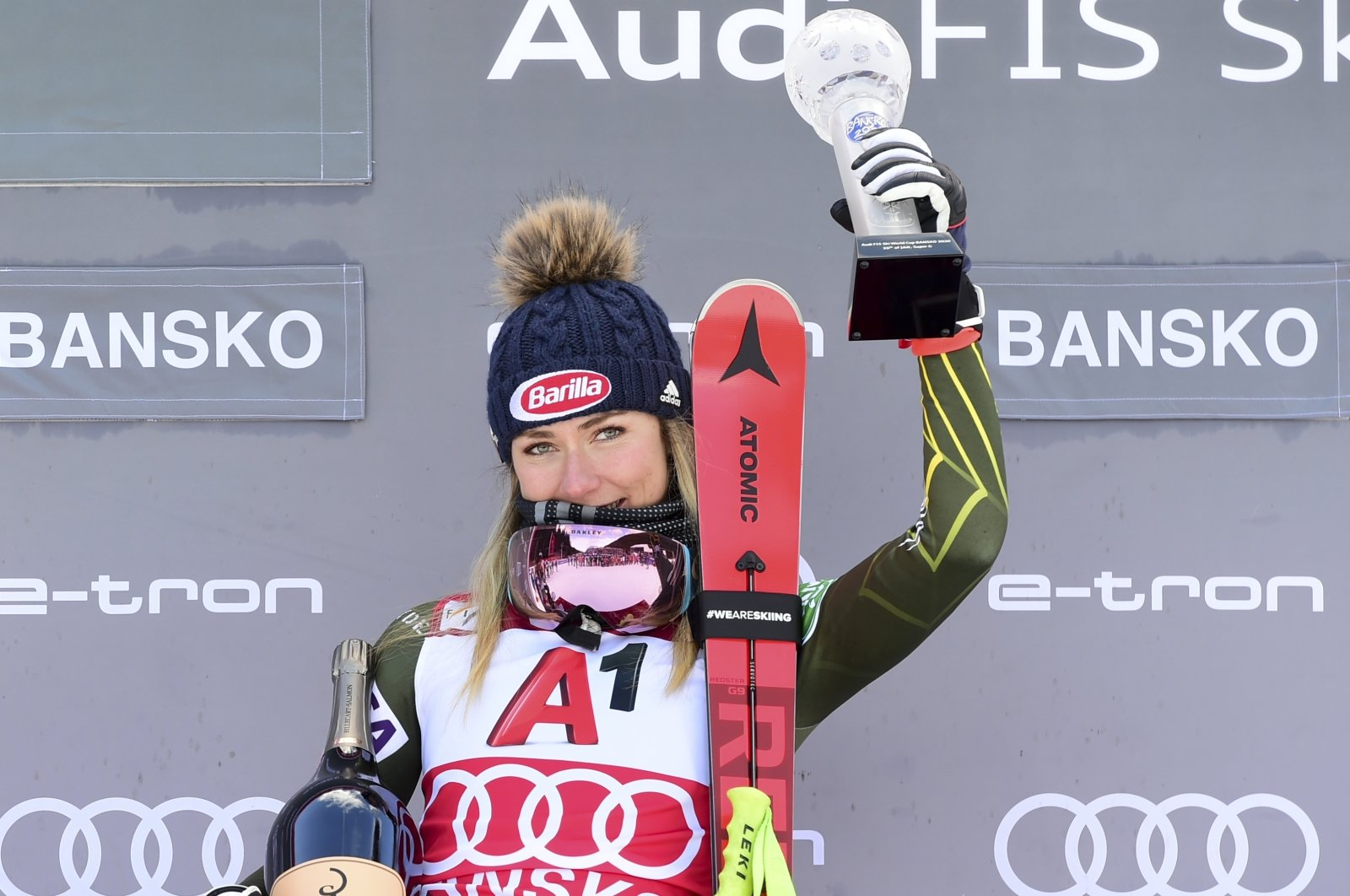 Mikaela Shiffrin celebrates after winning the women's World Cup super-G, in Bansko, Bulgaria, Jan. 26, 2020. (AP Photo)