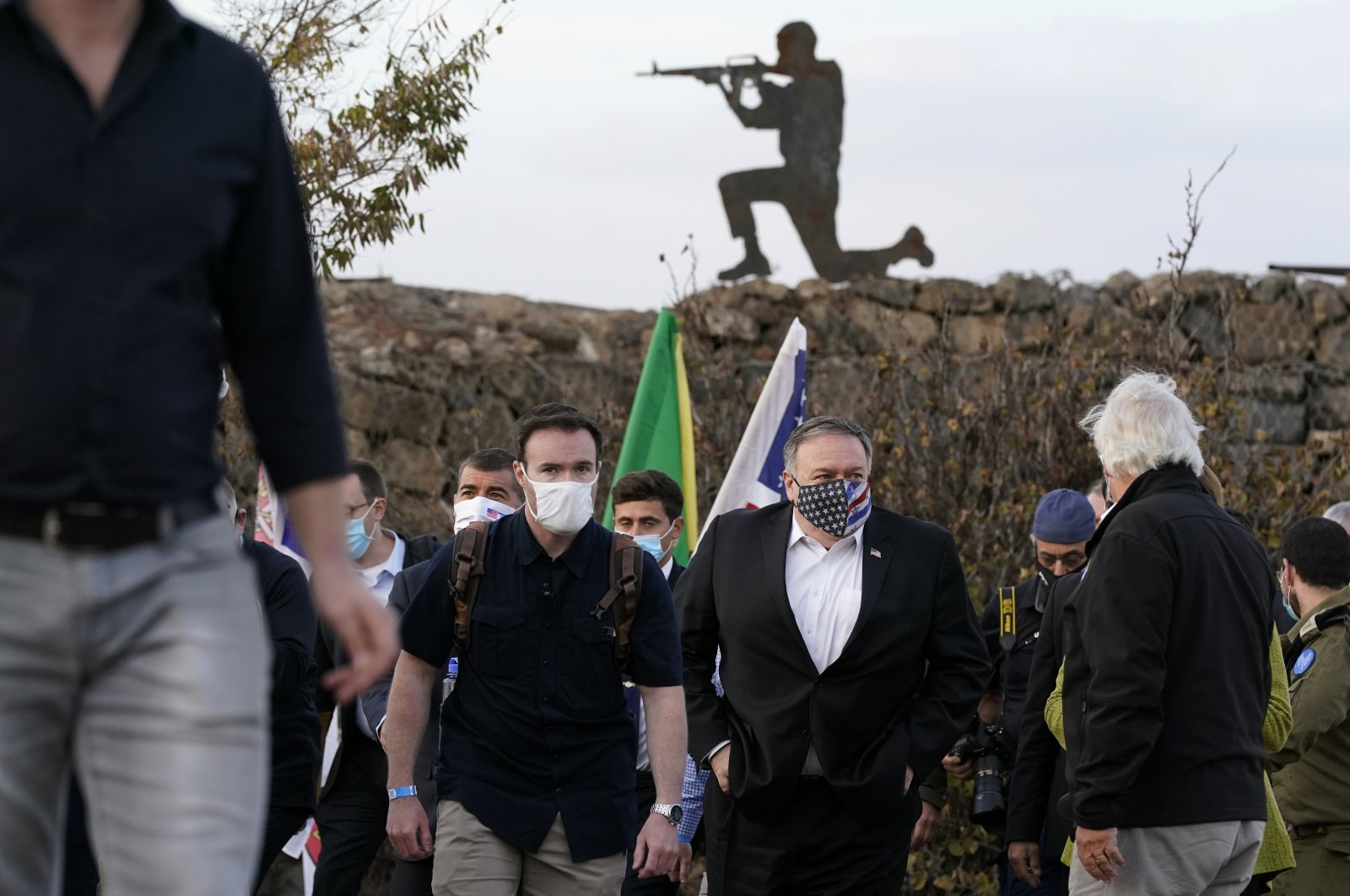 U.S. Secretary of State Mike Pompeo departs a security briefing on Mount Bental in the Israeli-occupied Golan Heights, near the Israeli-Syrian border, Nov. 19, 2020. (AP Photo)