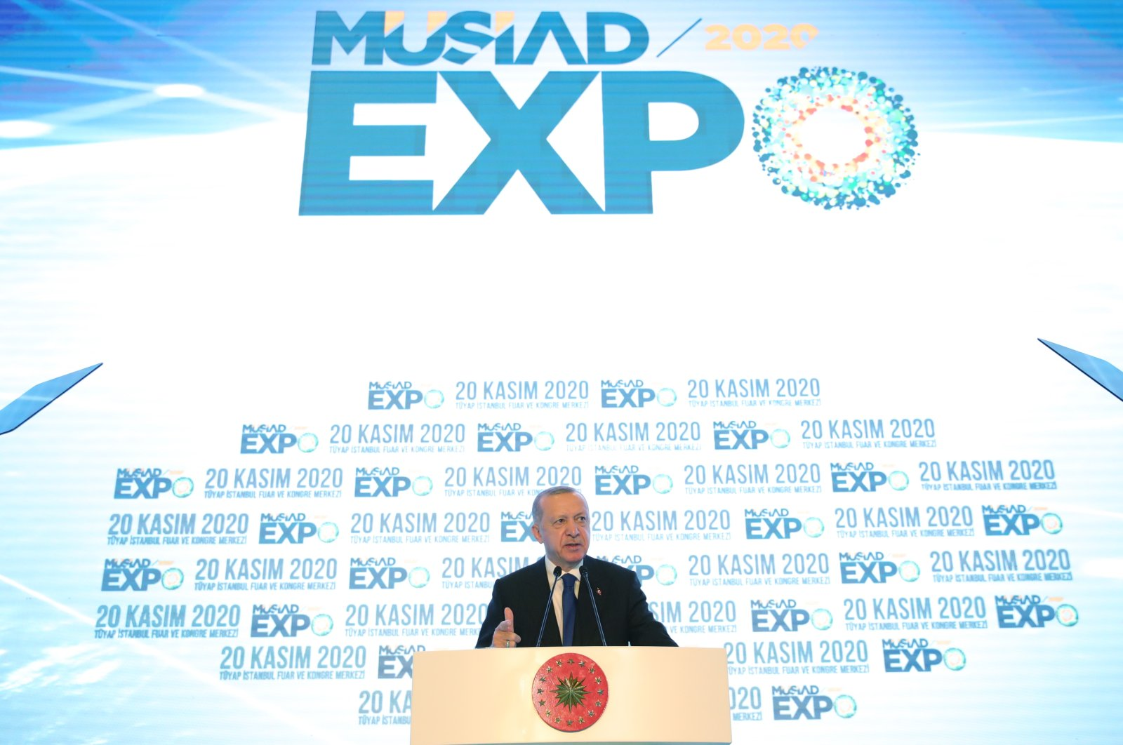President Recep Tayyip Erdoğan delivers a speech during Independent Industrialists and Businessmen's Association (MÜSIAD) EXPO 2020 trade fair in Istanbul, Turkey, Nov. 20, 2020. (AA Photo)