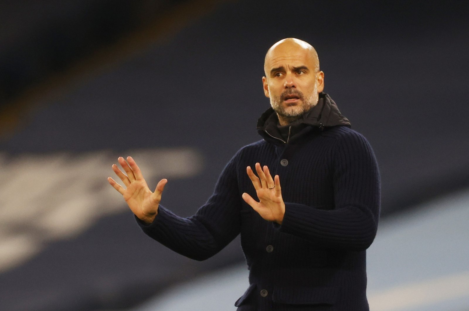 Manchester City manager Pep Guardiola reacts during a Champions League match against Olympiacos, in Manchester, Britain, Nov. 3, 2020. (Reuters Photo)