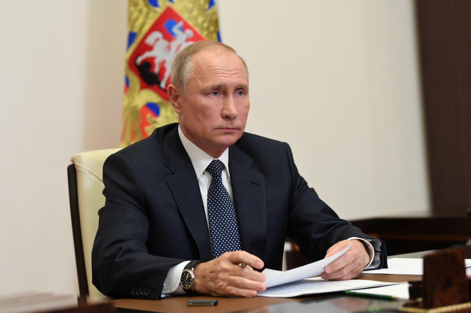 Russian President Vladimir Putin attends a meeting via a video conference call at the Novo-Ogaryovo state residence outside Moscow, Nov. 20, 2020. (Kremlin via Reuters)