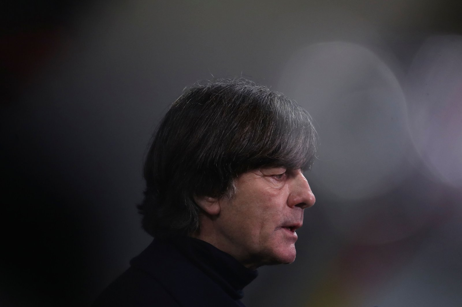 Germany's coach Joachim Low reacts after the UEFA Nations League Group 4 football match of Germany vs Ukraine at the Red Bull Arena stadium in Leipzig, eastern Germany, Nov. 14, 2020. (AFP Photo)