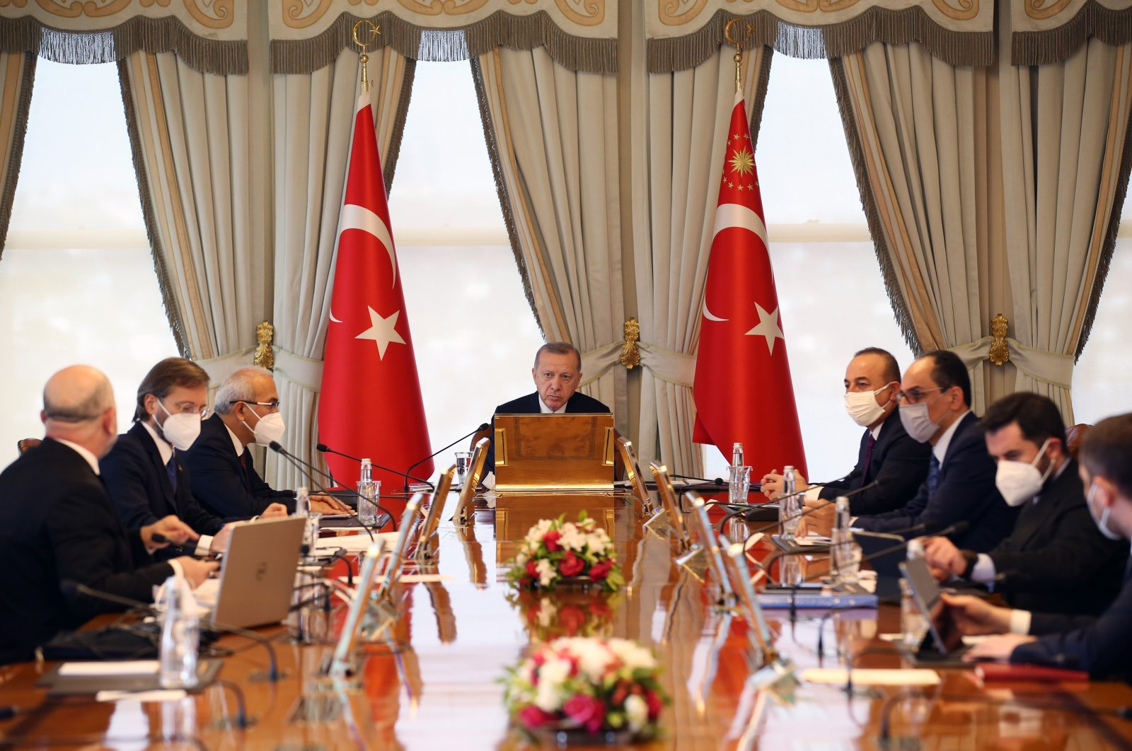 President Recep Tayyip Erdoğan, accompanied by members of the Cabinet and presidential aides, attends the G20 Summit held via videoconference, on Nov. 21, 2020. (IHA Photo)