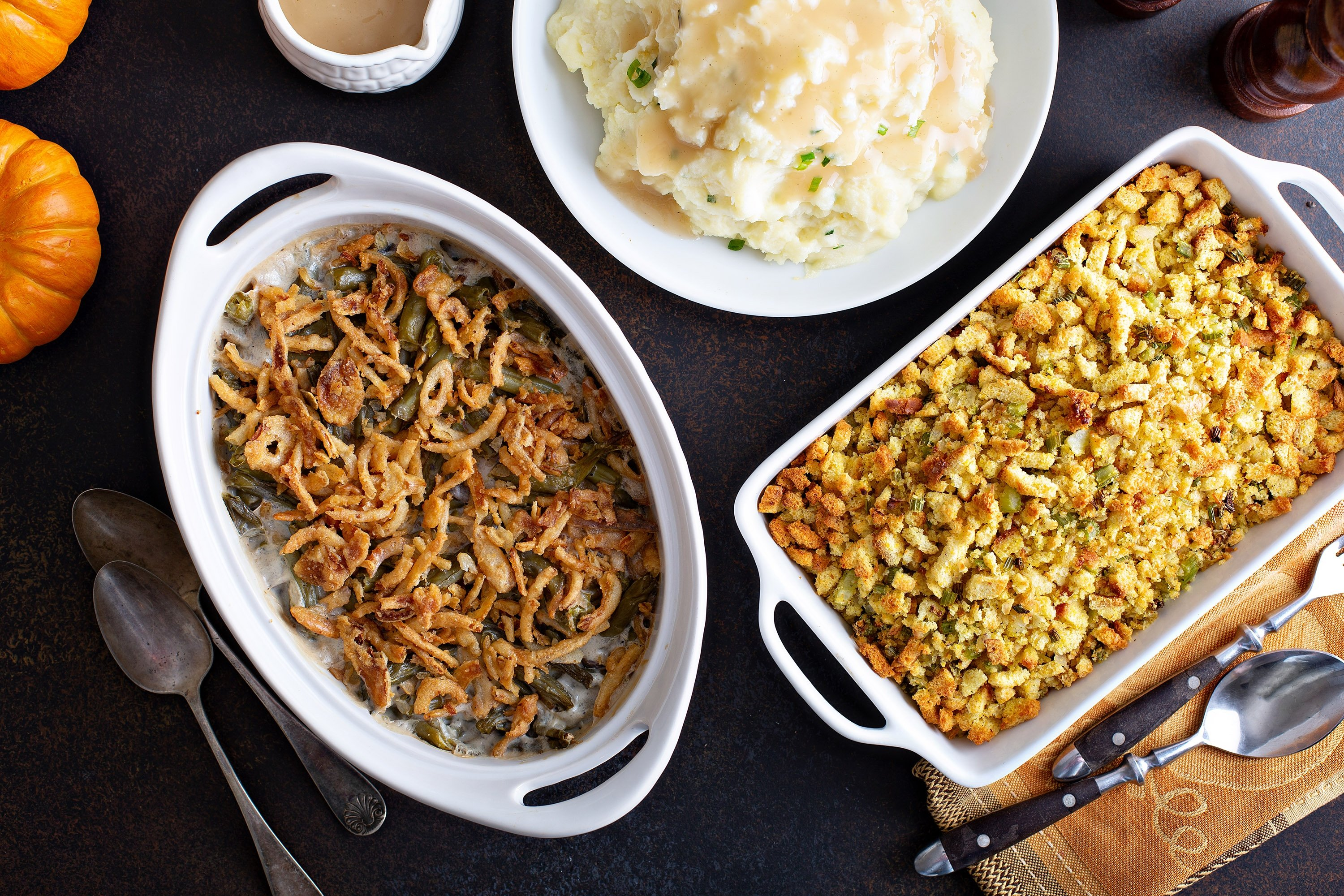 Green bean casserole, topped off with crispy onions, is the quintessential Thanksgiving side. (Shutterstock Photo)