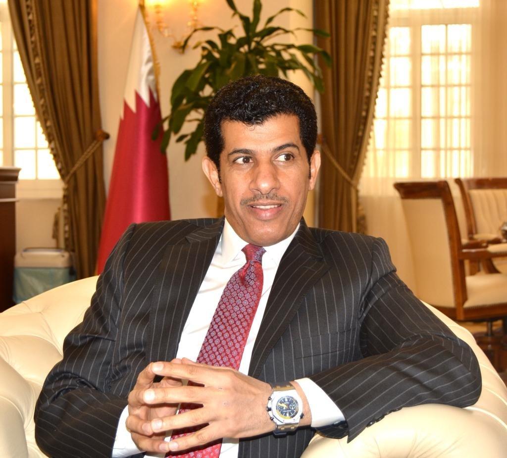Doha's Ambassador to Ankara Salem Mubarak Al-Shafi speaks during a meeting at At the Qatari Embassy in Ankara in 2018.