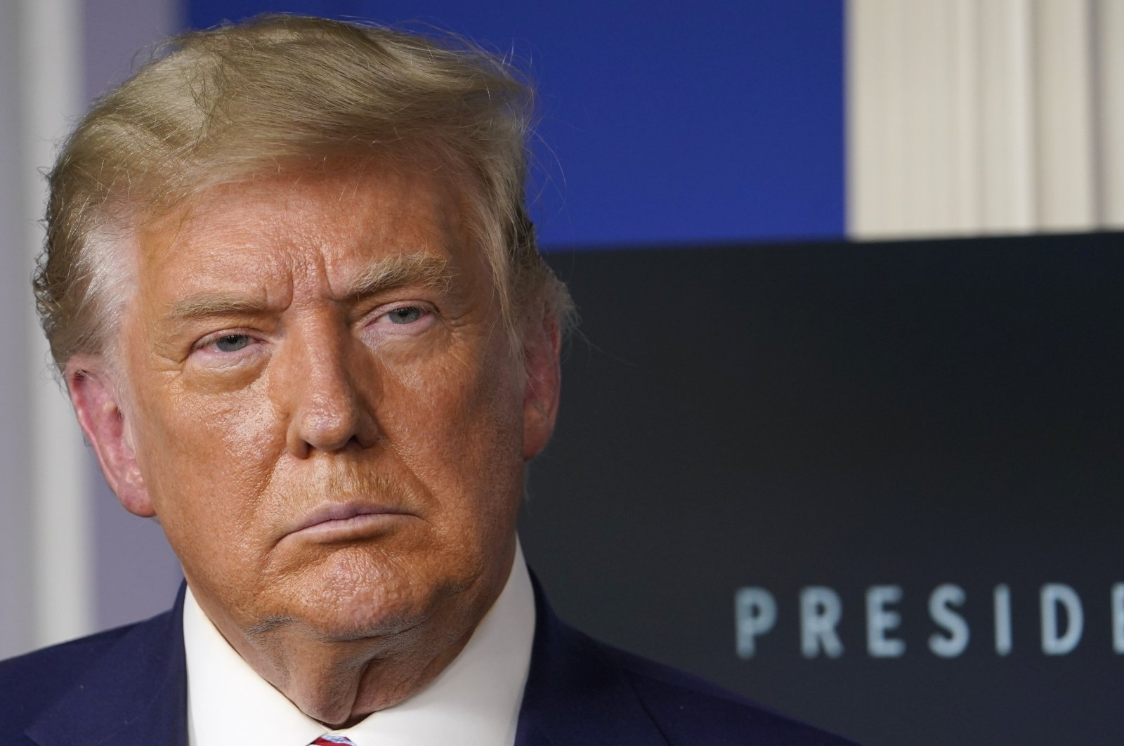 In this Friday, Nov. 20, 2020 file photo, President Donald Trump listens during an event in the briefing room of the White House in Washington. (AP Photo)