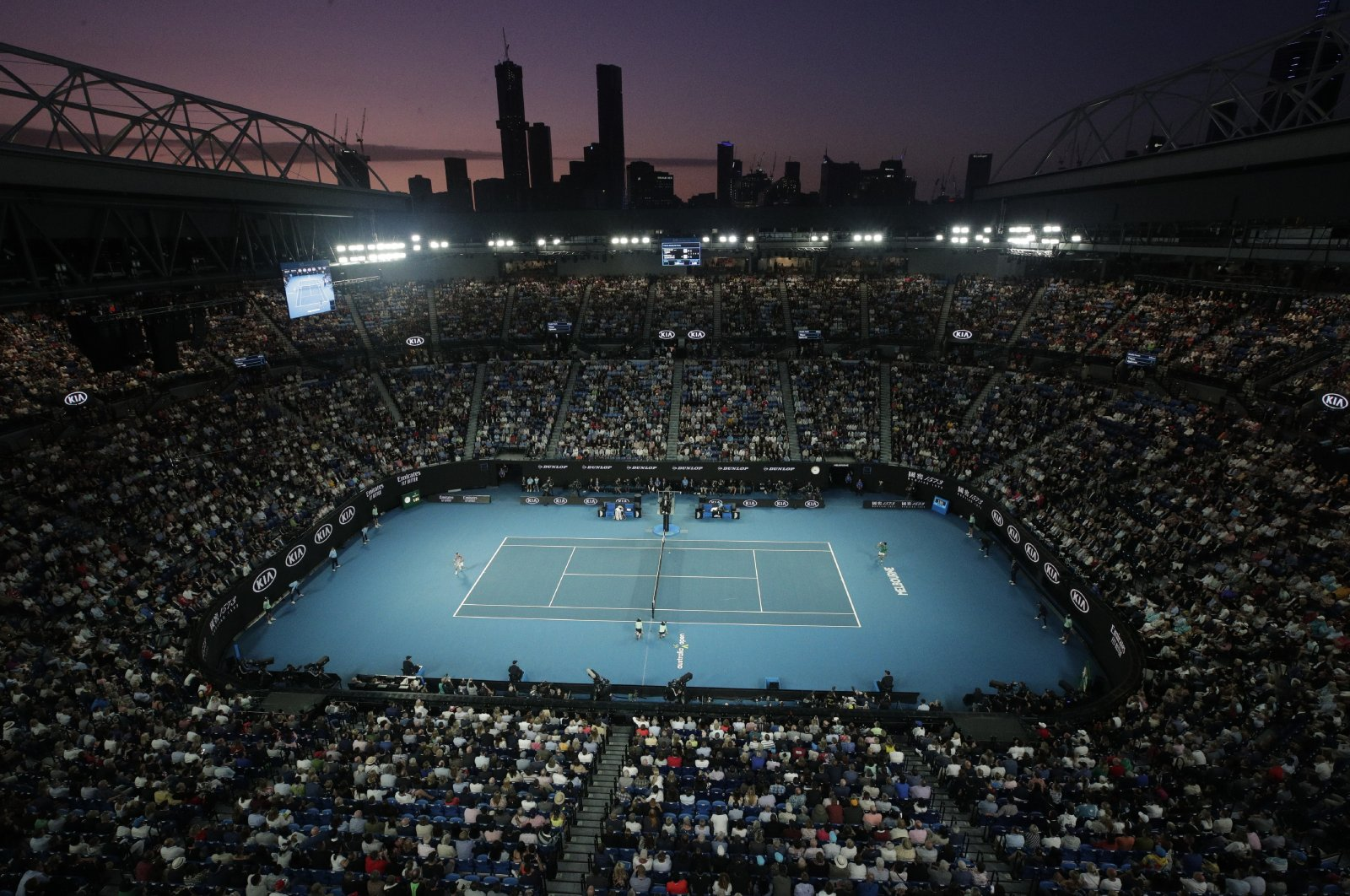 A view of Rod Laver Arena during the men's singles final at Australian Open, in Melbourne, Australia, Feb. 2, 2020. (AP Photo)