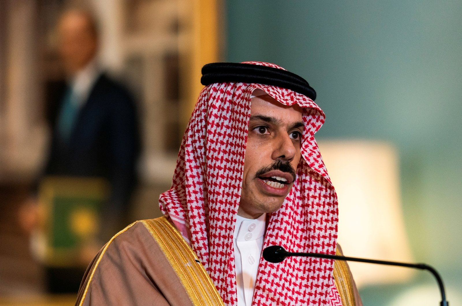 Saudi Minister of Foreign Affairs Prince Faisal bin Farhan Al Saud speaks during his meeting with U.S. Secretary of State Mike Pompeo, at the State Department, Washington, D.C., Oct. 14, 2020. (REUTERS)