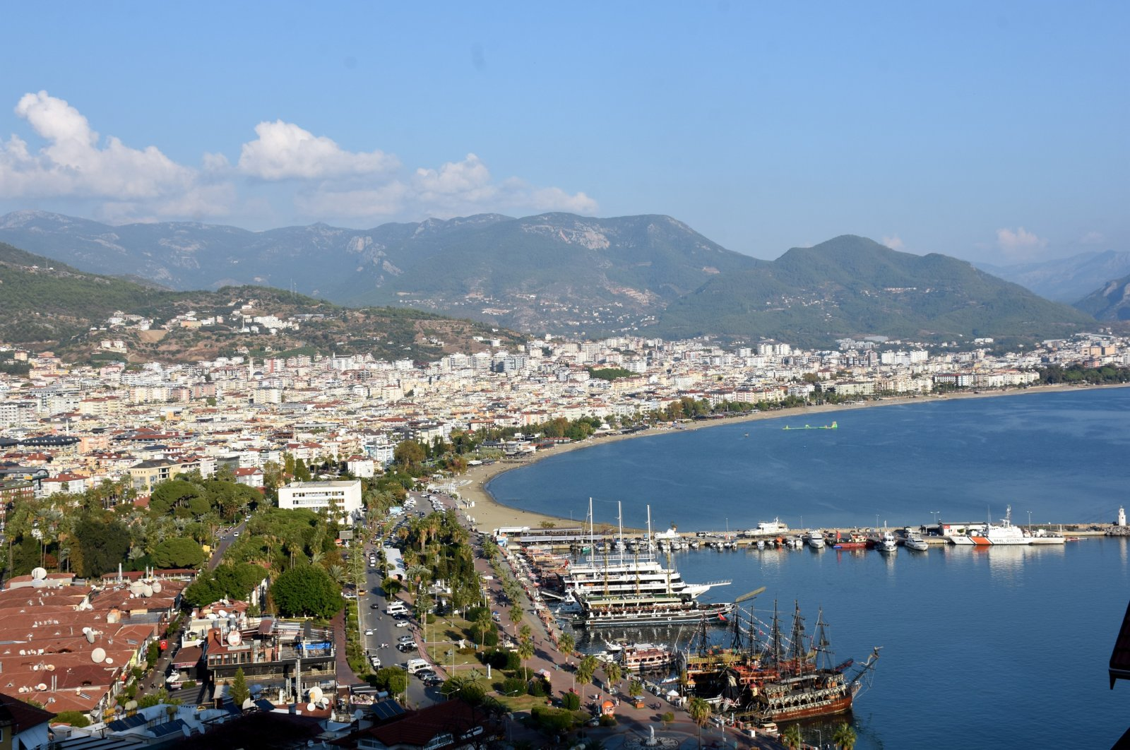An aerial view of Alanya districtof Turkey's touristic hot spot, southern Antalya province, Nov. 19, 2020. (AA Photo)
