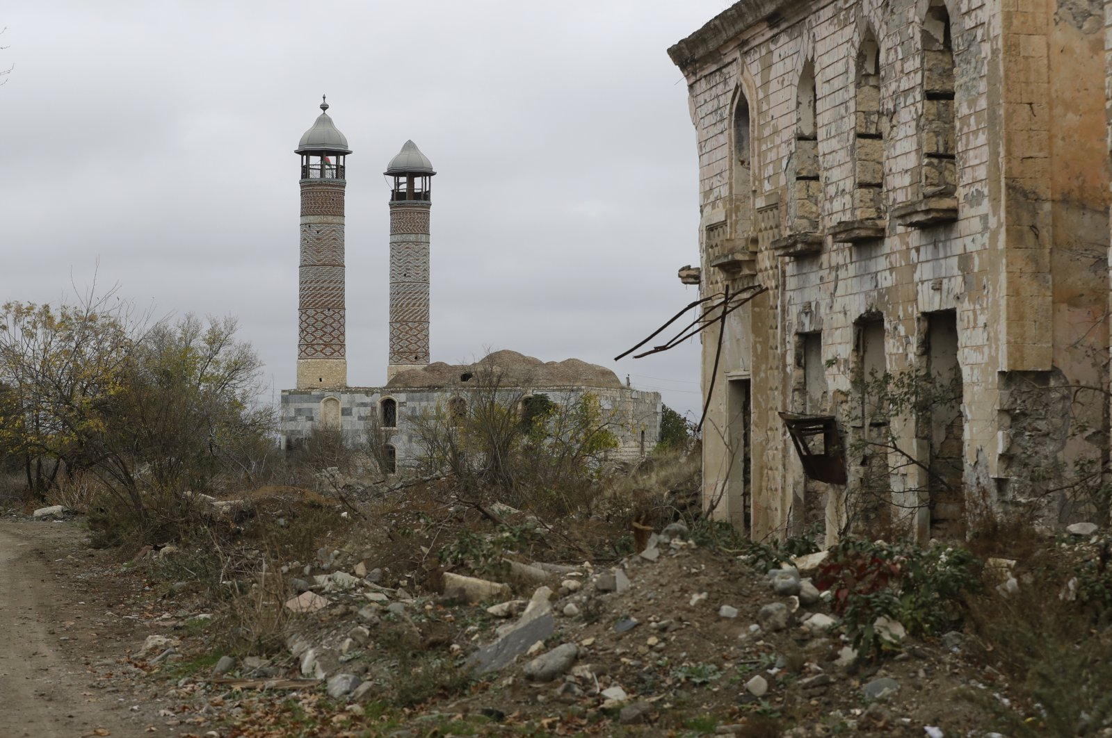 A view of a vast expanse of jagged concrete and houses reduced to shells in Aghdam, after the Azerbaijani forces took over control of the city, Aghdam, Azerbaijan, Nov. 20, 2020. (AP)
