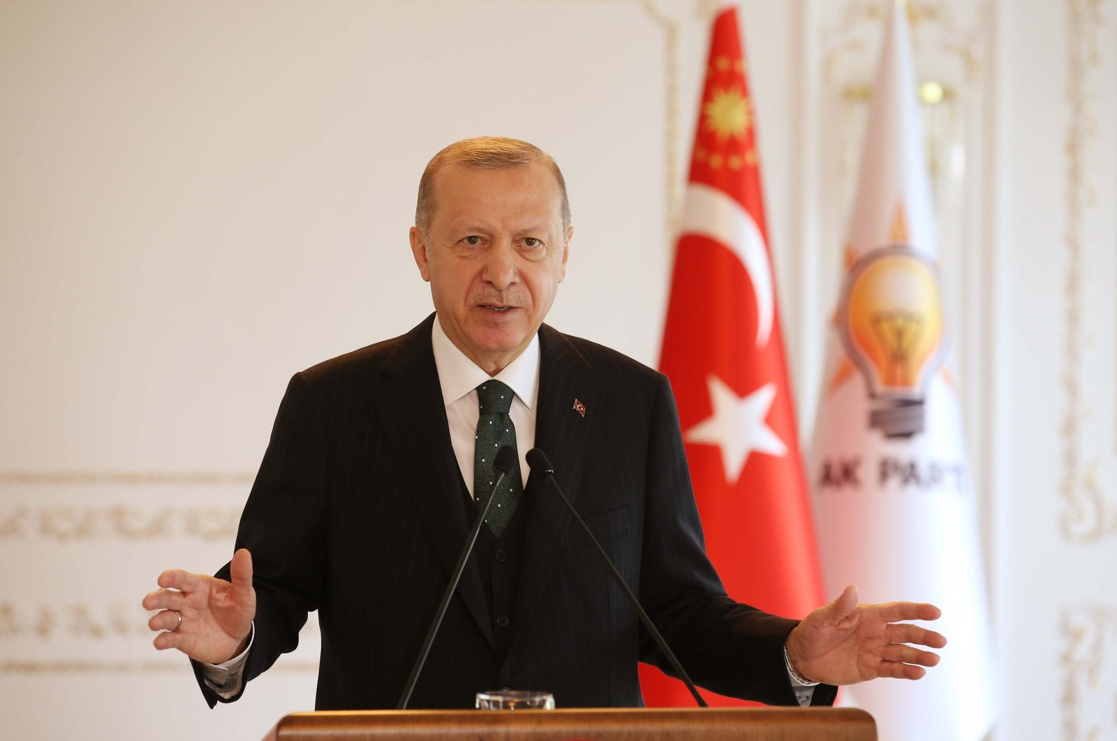 President Recep Tayyip Erdoğan attends a videoconference with Justice and Development Party (AK Party) provincial organizations, Istanbul, Nov. 22, 2020 (DHA Photo)