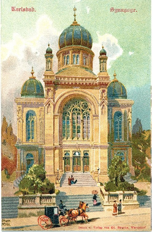 A postcard showing Carlsbad Synagogue, also known as Karlovy Vary synagogue, in the Czech Republic. (Courtesy of Schneidertempel Art Center)