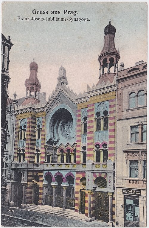 A postcard featuring the image of the Jubilee Synagogue, also known as the Jerusalem Synagogue, in Prague, the Czech Republic, from