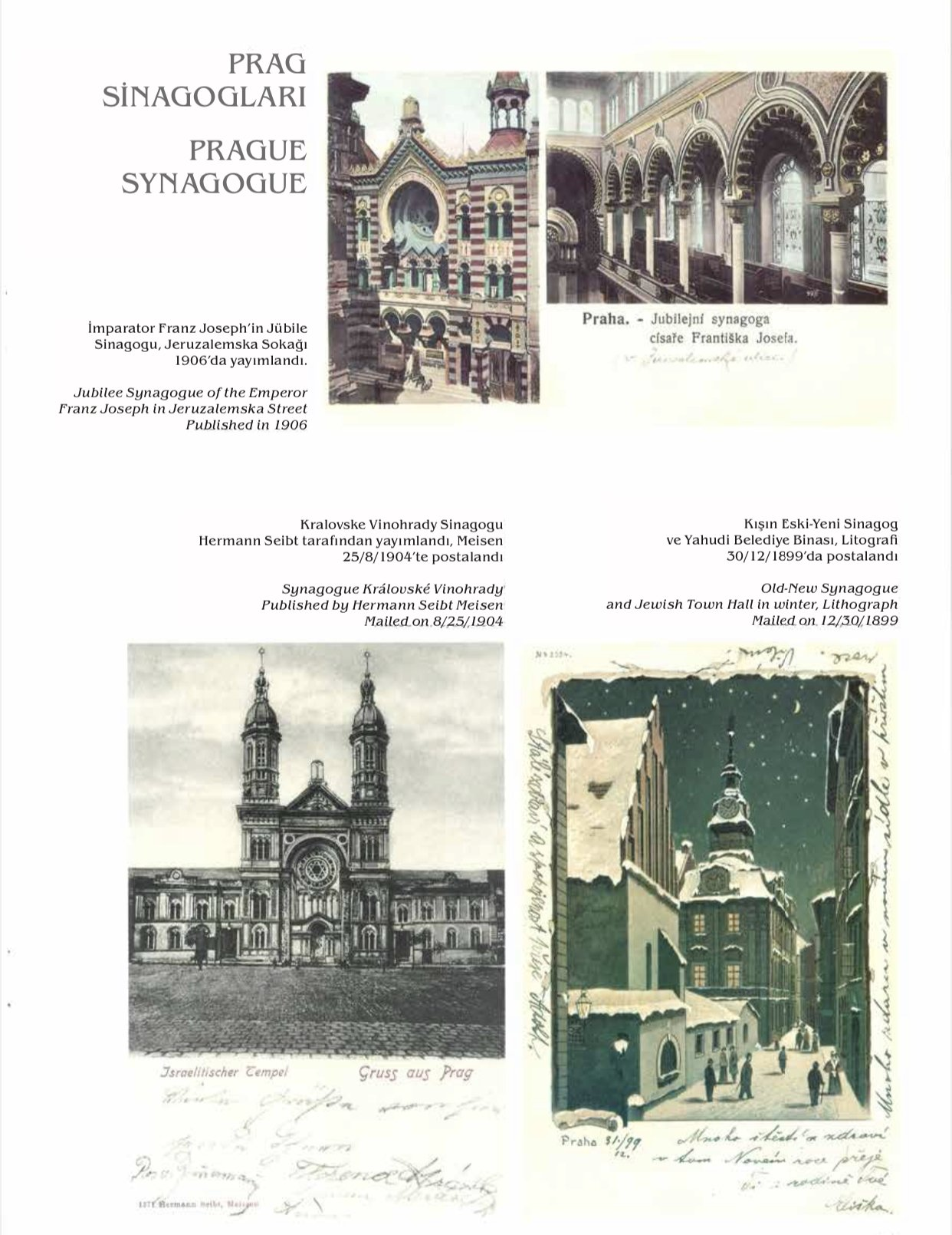 Jewish postcards featuring Prague synagogues from